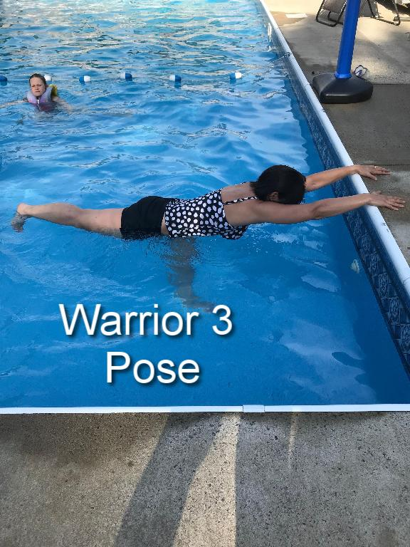 After your finish your Warrior 2 pose, prepare for Warrior 3 by pressing your weight into your front foot and slowly lifting your back leg parallel to the ground. Extend your arms forward,toward the side of the pool and lower. Flex your back foot and reach out through your heel. Make sure you are not locking your knees. Repeat on the other side.