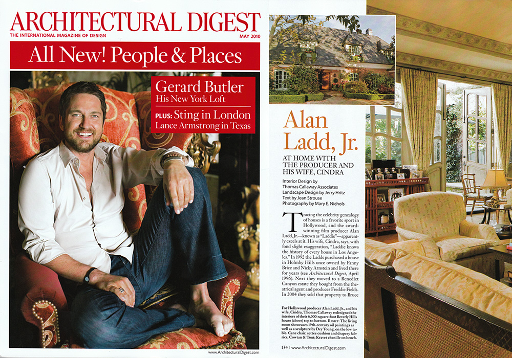 ARCHITECTURE DIGEST  Alan Ladd. Jr. - At Home with the producer and his wife, Cindra  May 2010
