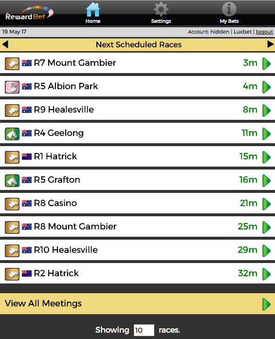 The Next To Go list is your quick path to upcoming races.  Click View All Meetings to change display.  Adjust the number of races shown.