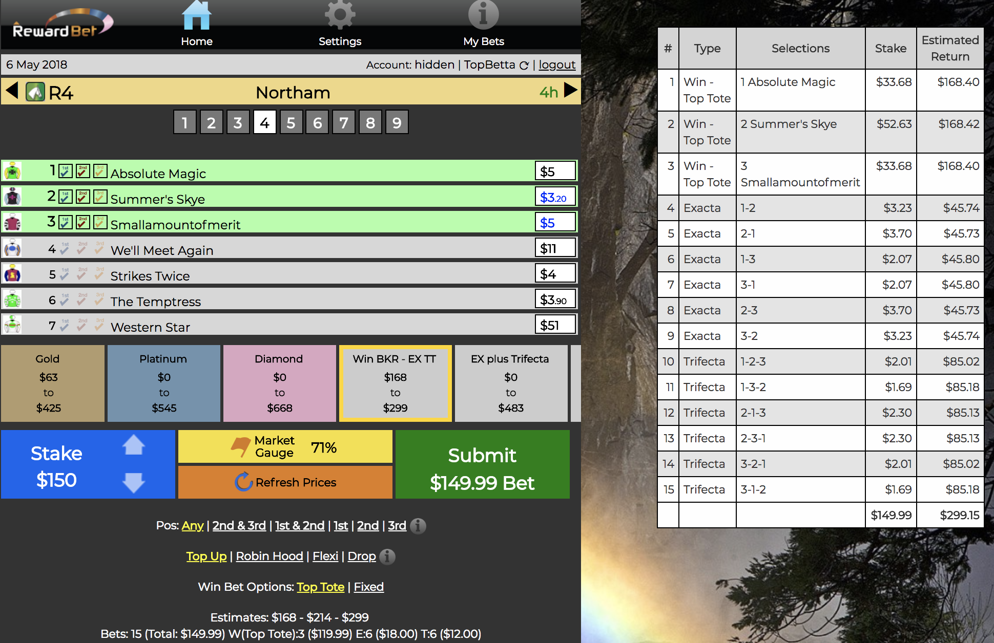 Northam R4  - Three selections #1 #2 ($3.20) #3 ($5) with  Edit Prices enabled  for $150 in a Win / Ex / TT Custom Level.  I think these are the three here, but I don't think the market prices are right. So I've used  Edit Prices feature  to adjust the prices, this will result in potentially higher returns if we are right.  Result: 4-7- 2 . Our Summer Skye, was the best supported but we got nutted by both outsiders! Hello, WA Racing!  Outlay: $150. Return: NIL. Loss: $150.
