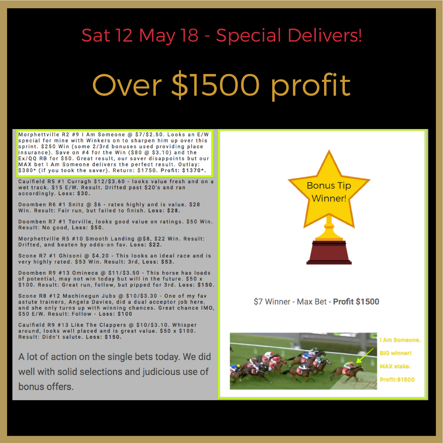 Our E/W Special at $7 with Max Stake Wins. We not only tip but  we provide the reasons for the selections  being taken to  educate  you. In this instance, the winkers, a piece of gear - made all the difference as we noted.