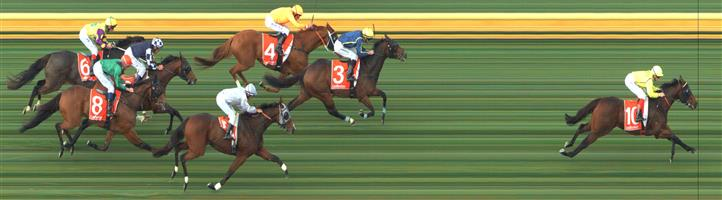 🏆🏆🏆🏆 SANDOWN HILLSIDE Race 4 No. 10 Connery @ $2.40 (1.5 UNITS WIN)   Result :  1st  at SP $2.05, Best Tote $2.10, Betfair $2.42. Coming from the back, on the turn got to the outside and when straightened let down nicely to score a comfortable win. Outcome + 3.60 Units.