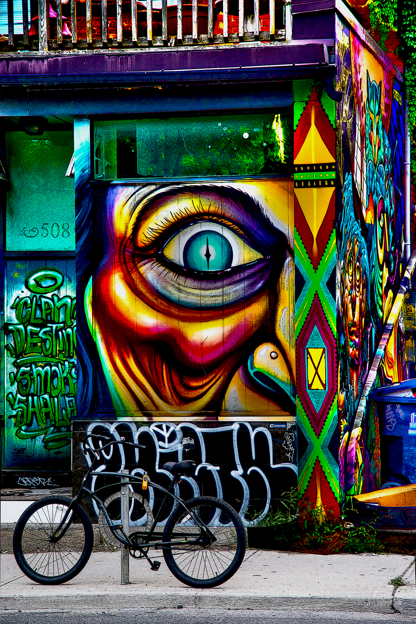 "Bathurst Graffiti #1 - 2016 , part of a two image set - see Collections for my Original Work featuring Toronto centric images as high resolution, signed and numbered fine art prints  printed on fine art paper, metallic paper, canvas, metal, wood, glass, and acrylic in sizes ranging to 60"" x 40"" or call me to commission meaningful Art for your walls featuring your favorite views, places, people, pets, hang outs, things, etc.,."