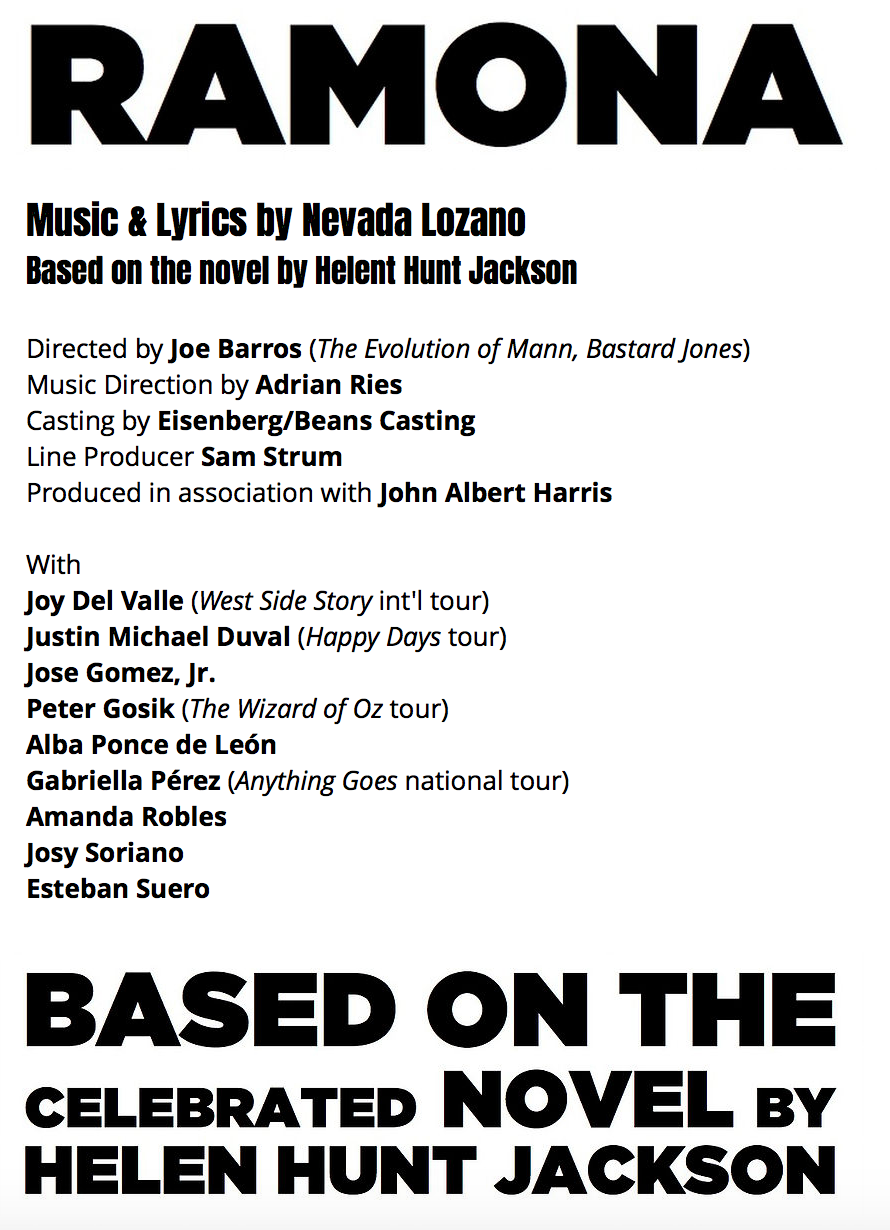 FEBRUARY 4, 2019 - Junior played Pablo in Ramona at the New York Theatre Barn, as part of their New Work Series. There's a link to one of the songs performed in the Media section!