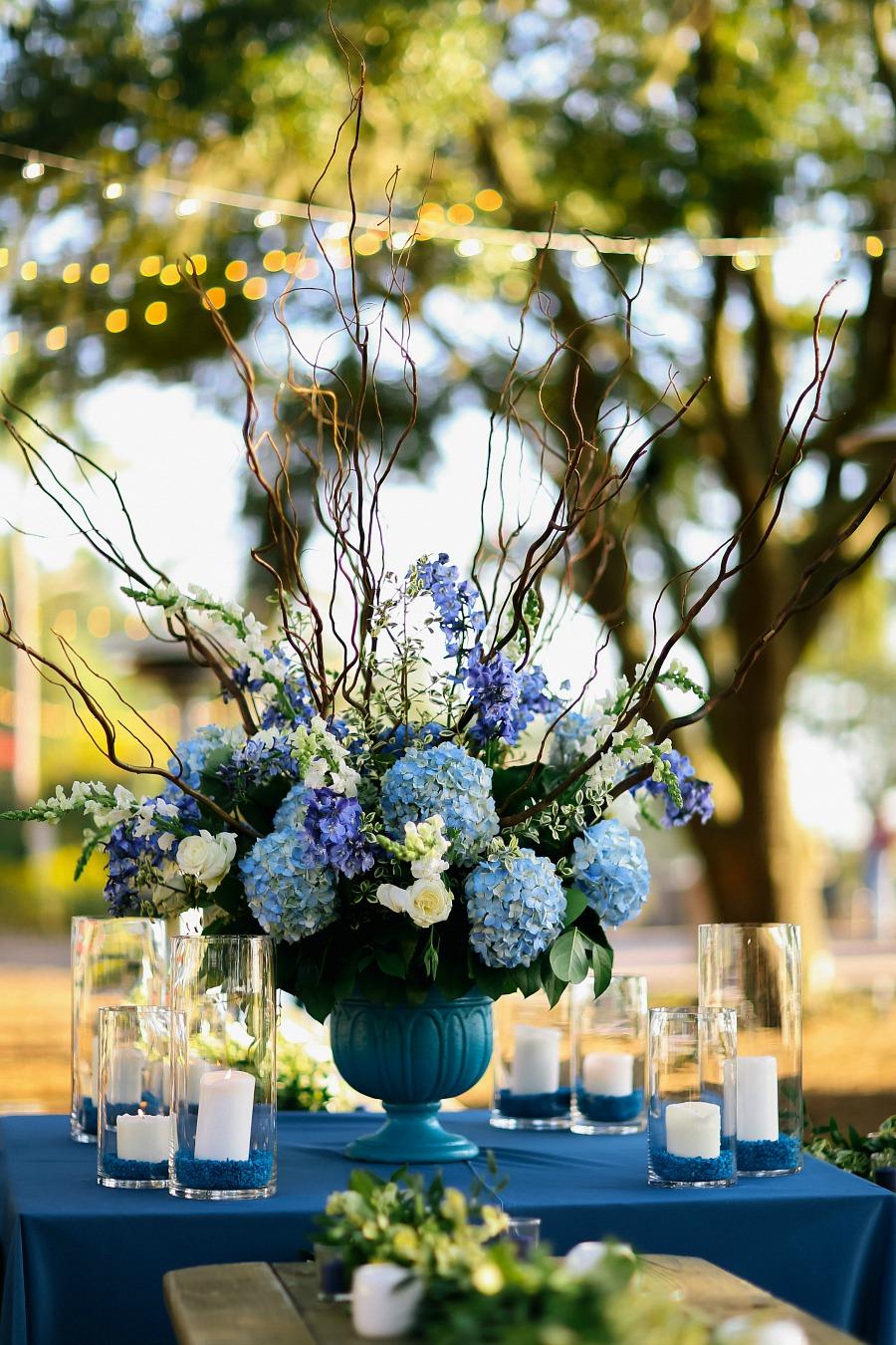 Welcome Dinner Blue Hydrangeas Wedding Planning Inspiration