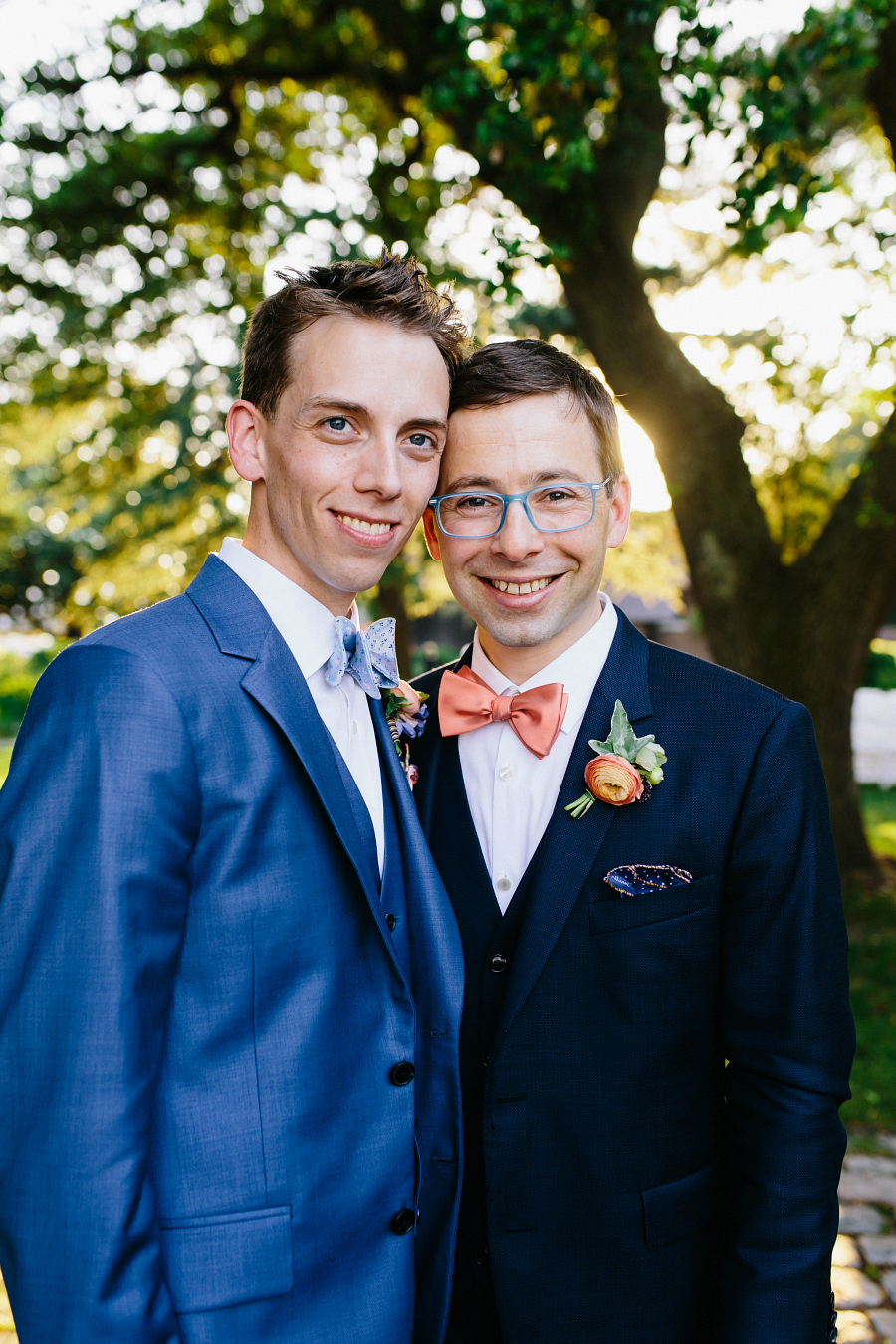 Dapper Grooms in blue Paul Smith Suits for summer wedding