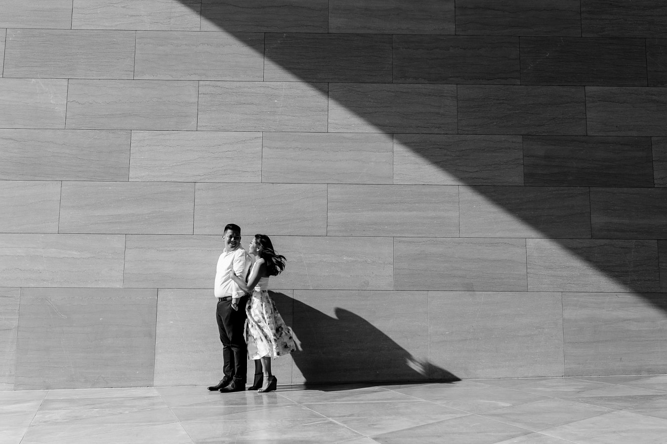 Modern Black & White Engagement Session with Shadows & Dramatic Light