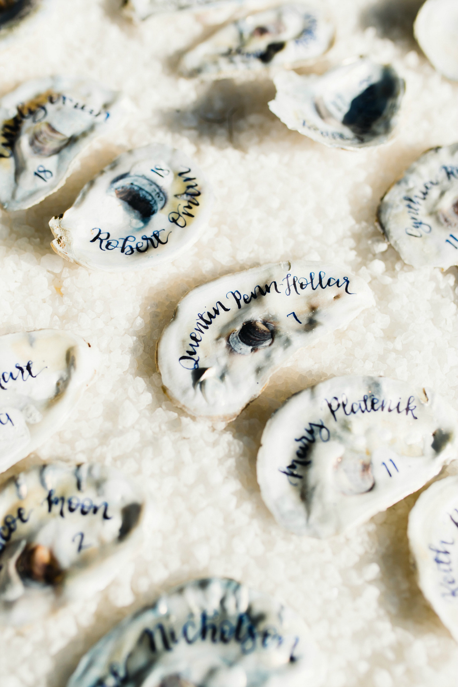 Oyster Shell Escort Cards Calligraphy