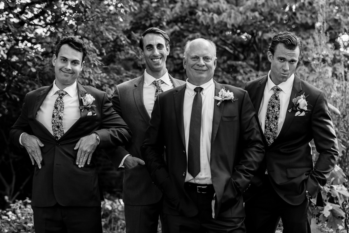 Natural Wedding Photos with Groomsmen and Dad