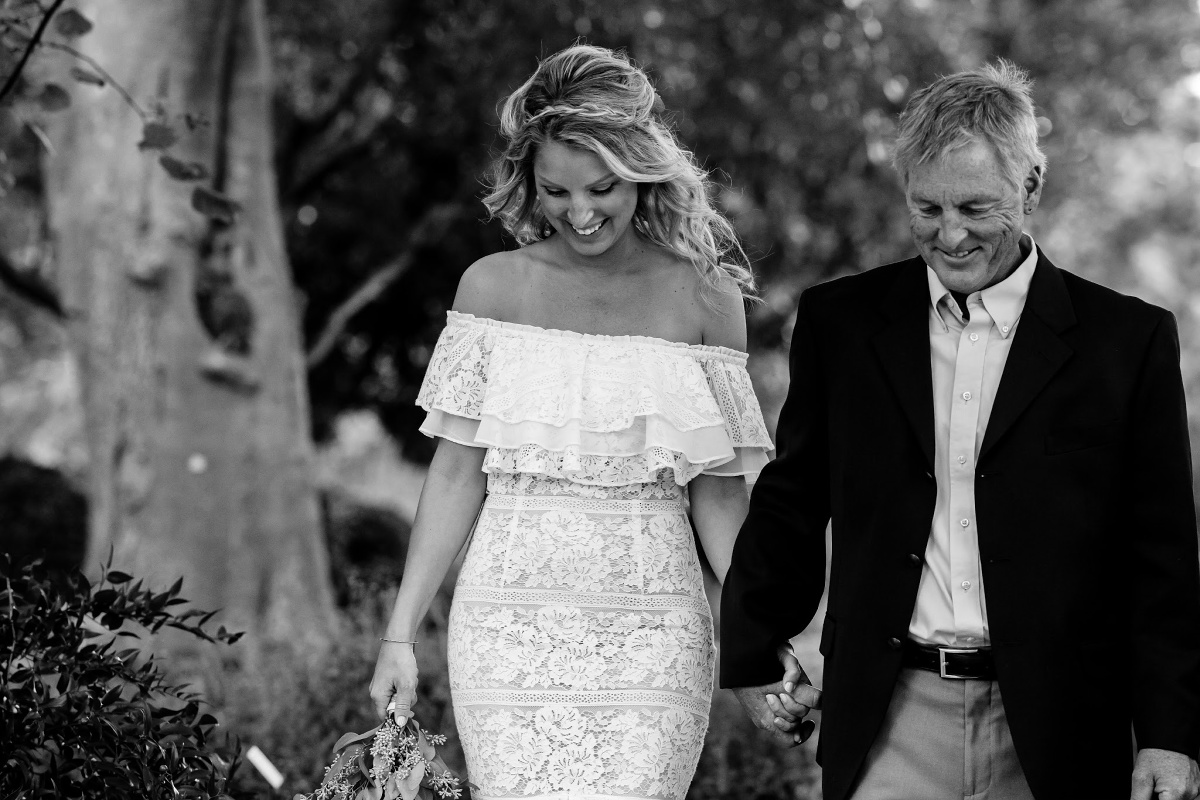 Photos of father walking bride down the aisle