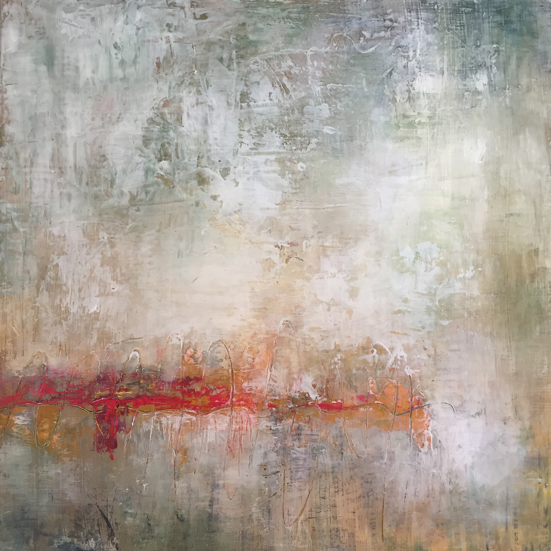 """Fogged In  Oil and CW  12"""" x 12""""  SOLD  2018"""