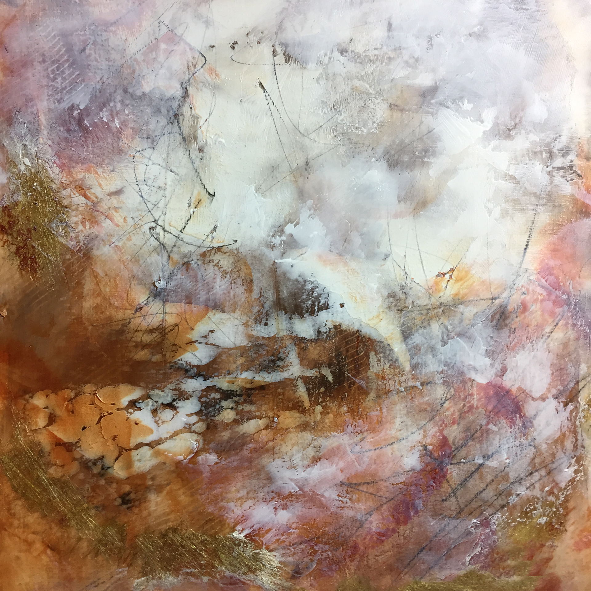 """Golden Pond  Mixed Media Oil and Cold Wax  12"""" x 12""""  2018  SOLD"""