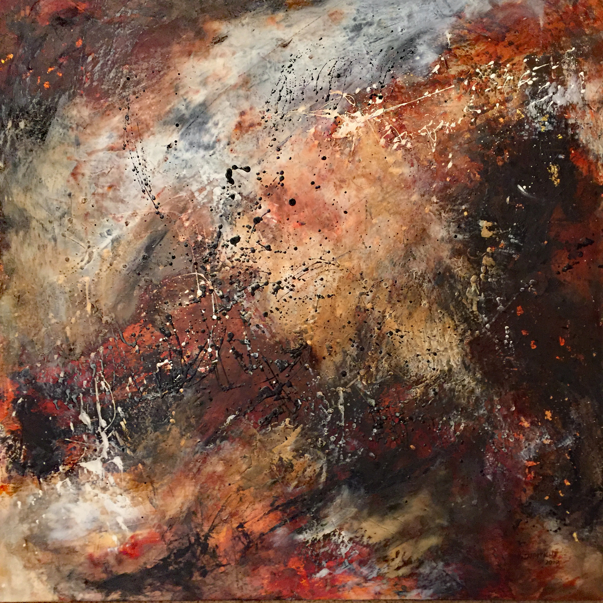 """Mudslinging  Mixed Media Oil and Cold Wax  24"""" x 24"""""""