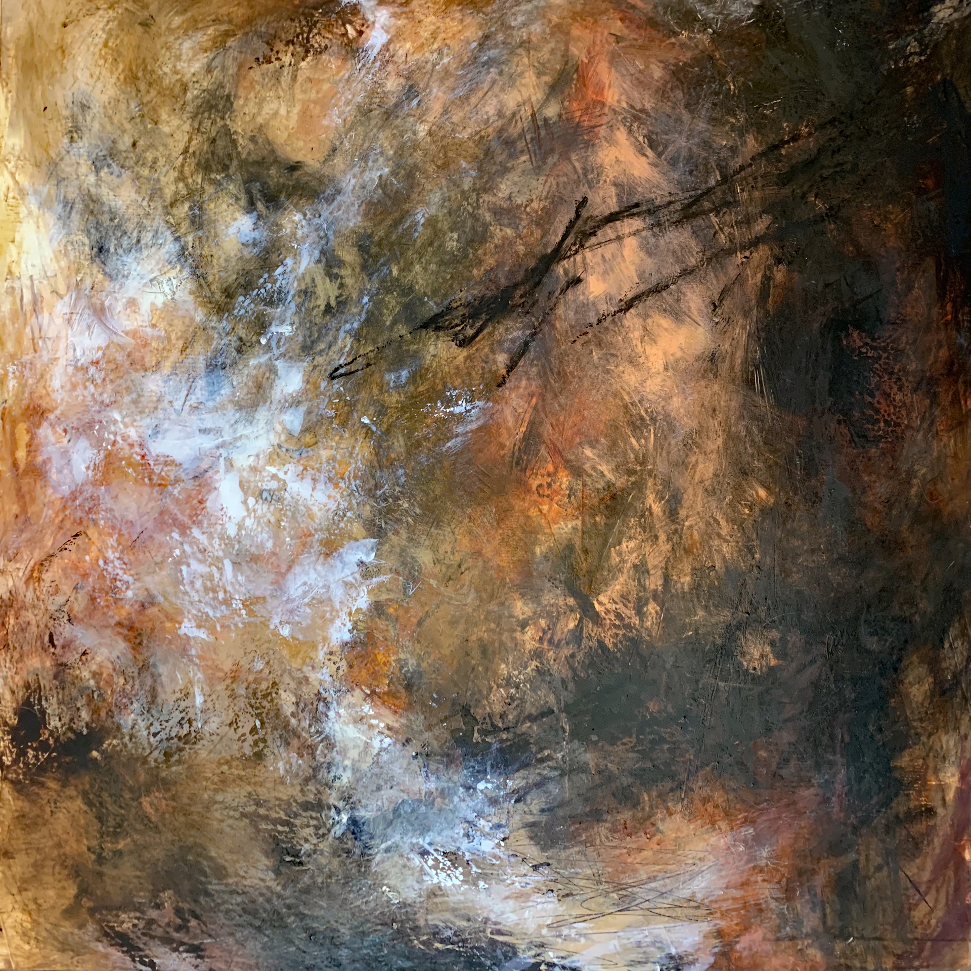 """Fractured Meandering I  Mixed Media Oil and Cold Wax  30"""" x 30""""  2018"""