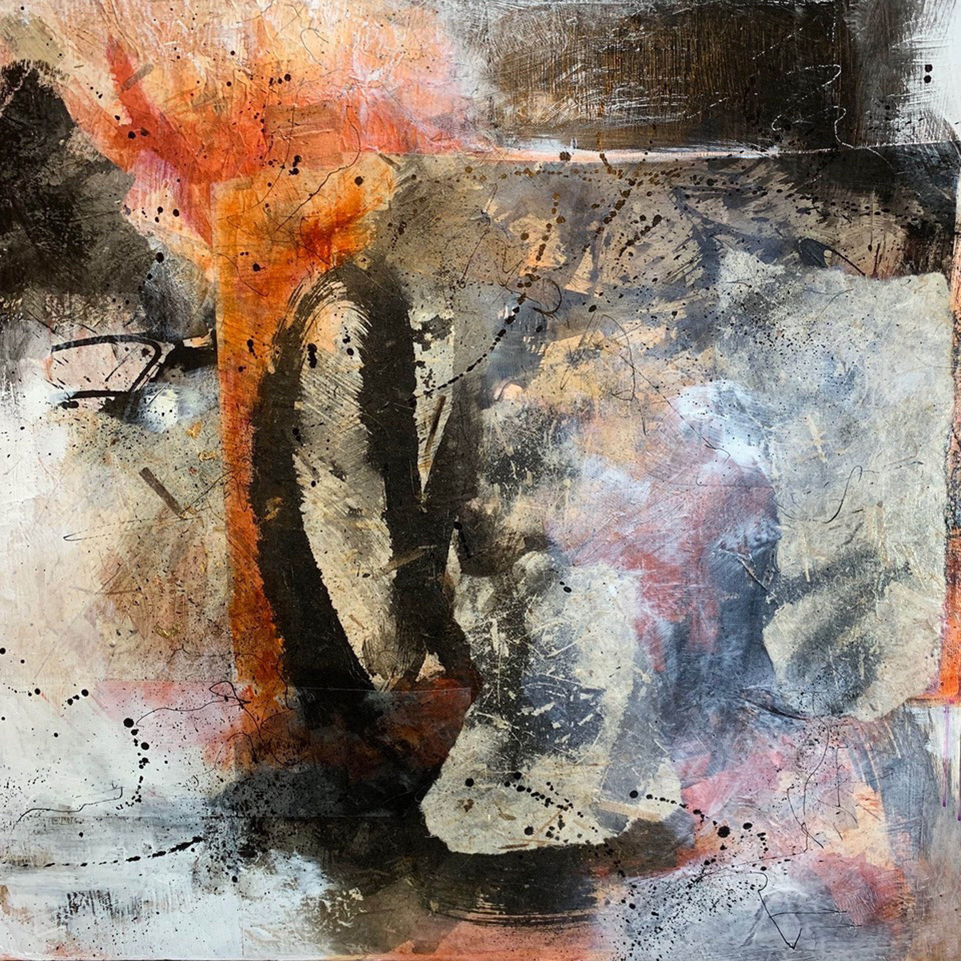 """Untitled  Mixed Media Acrylic and Ink Collage  24"""" x 24"""""""