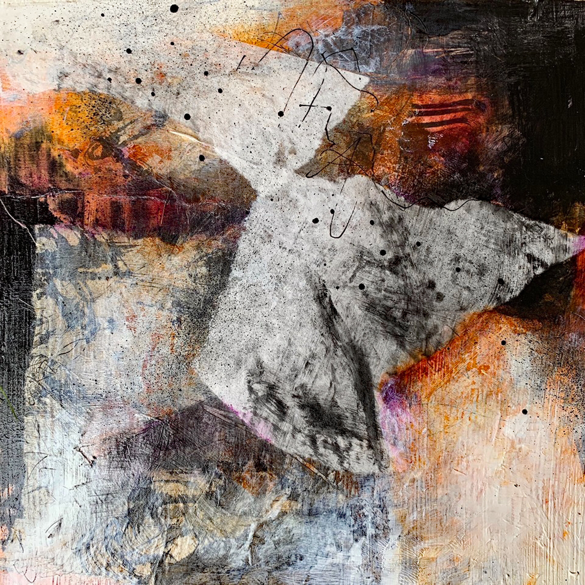 """Untitled  Mixed Media Acrylic and Ink Collage  12'"""" x 12""""  SOLD"""