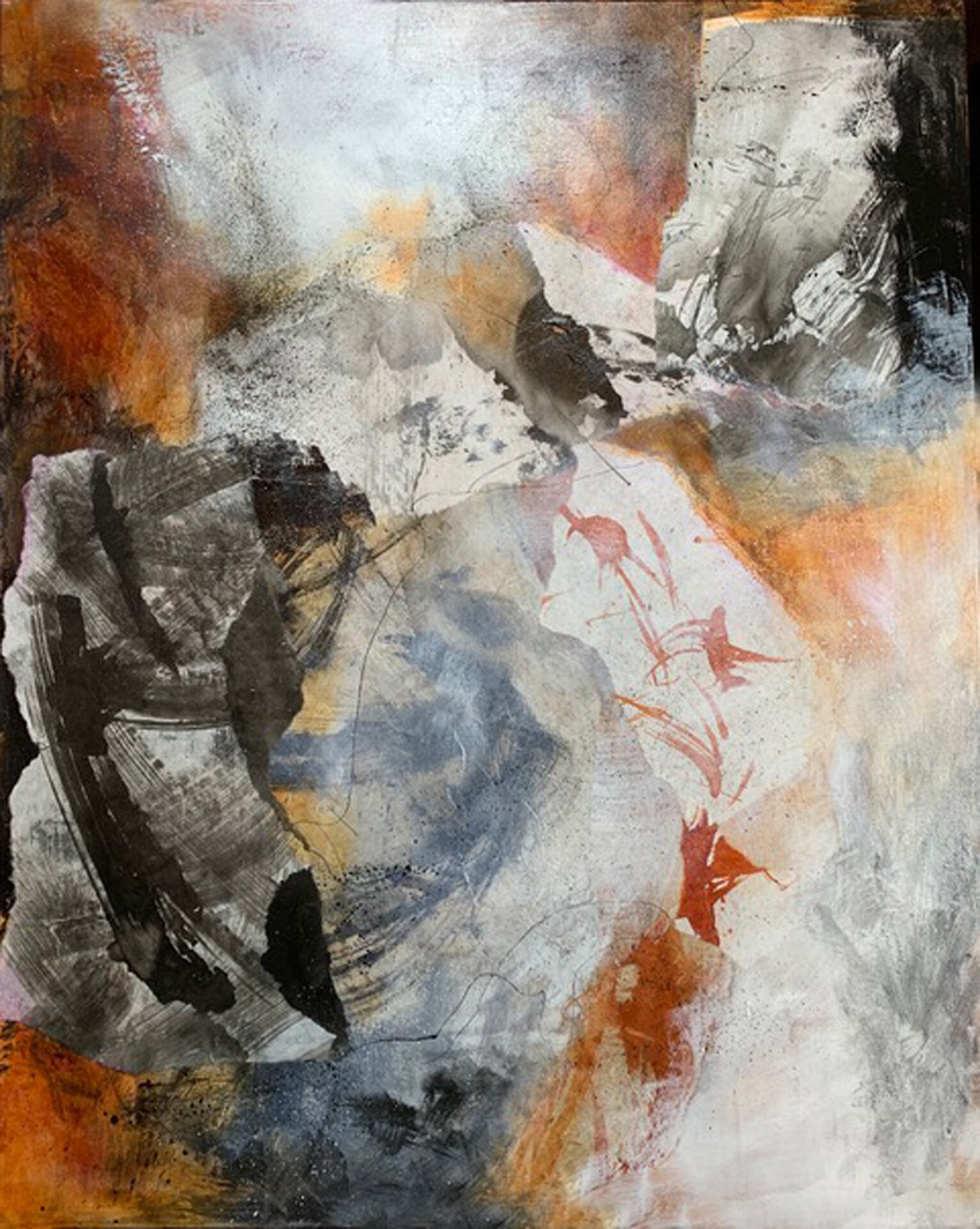 """In Flight  Mixed Media Acrylic and Ink Collage  24"""" x 30"""""""