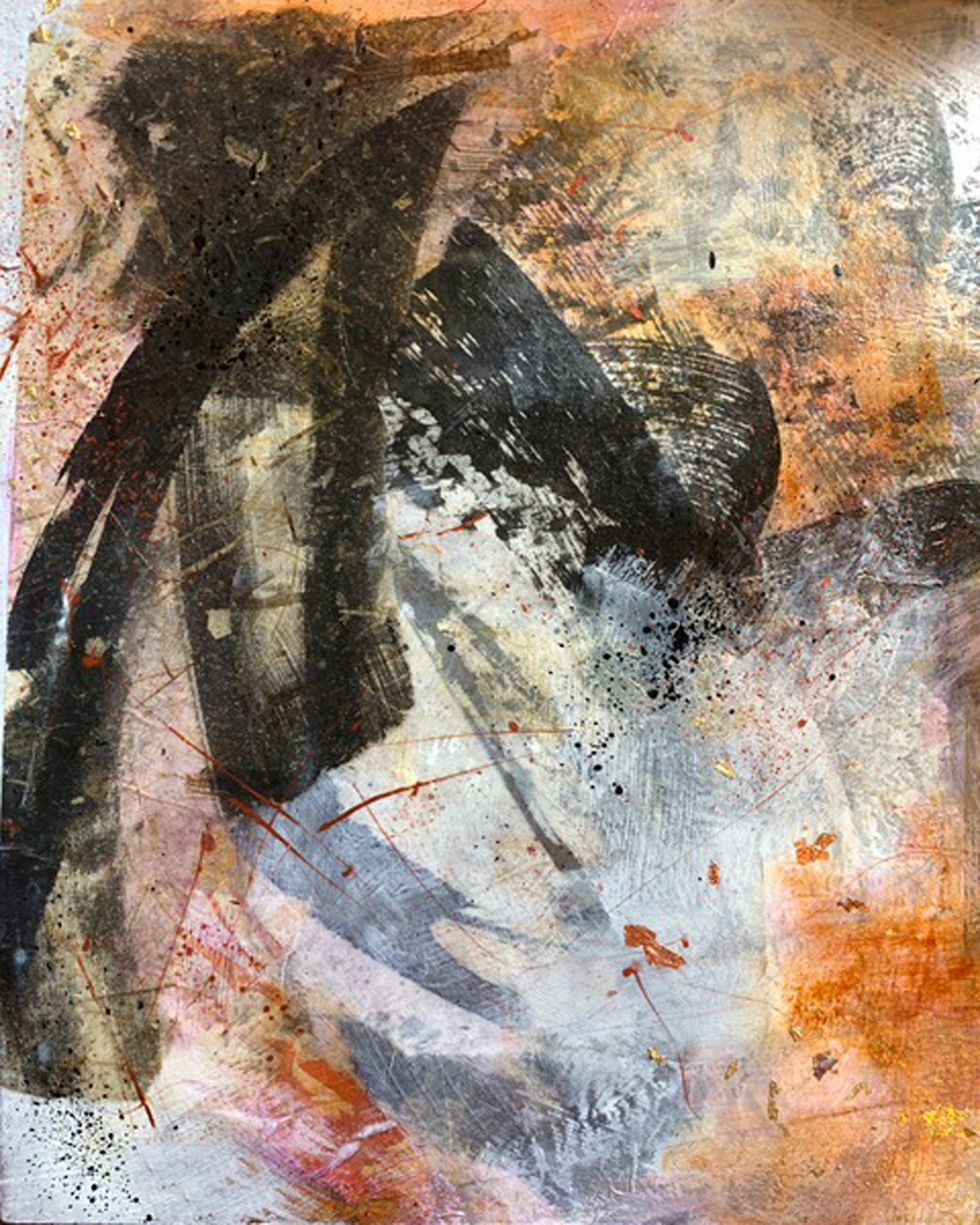 """Untitled  Mixed Media Acrylic and Ink Collage  9"""" x 12"""""""