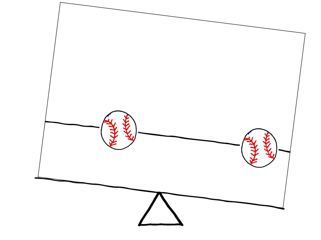 Unbalanced -2 baseballs not equally spaced