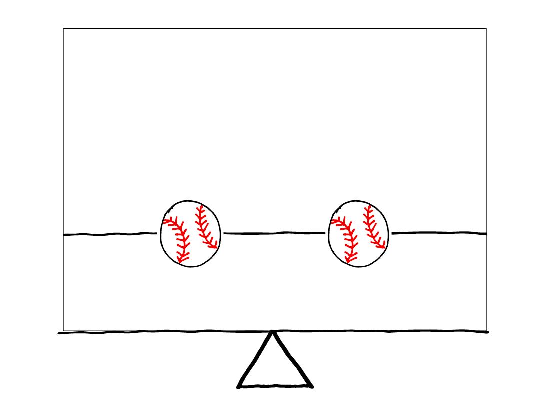Balanced - 2 baseballs equally spaced