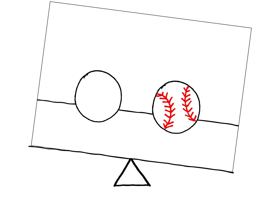 Unbalanced - 1 baseball & 1 ball of the same size equally spaced