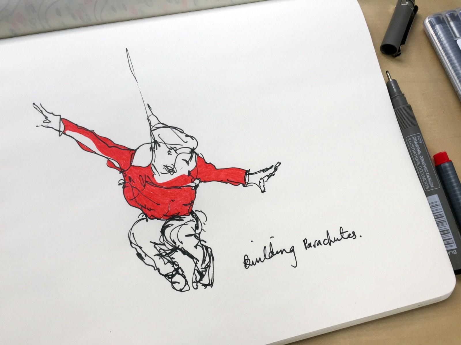 Bulding parachutes. Drawing by Luke Hockley