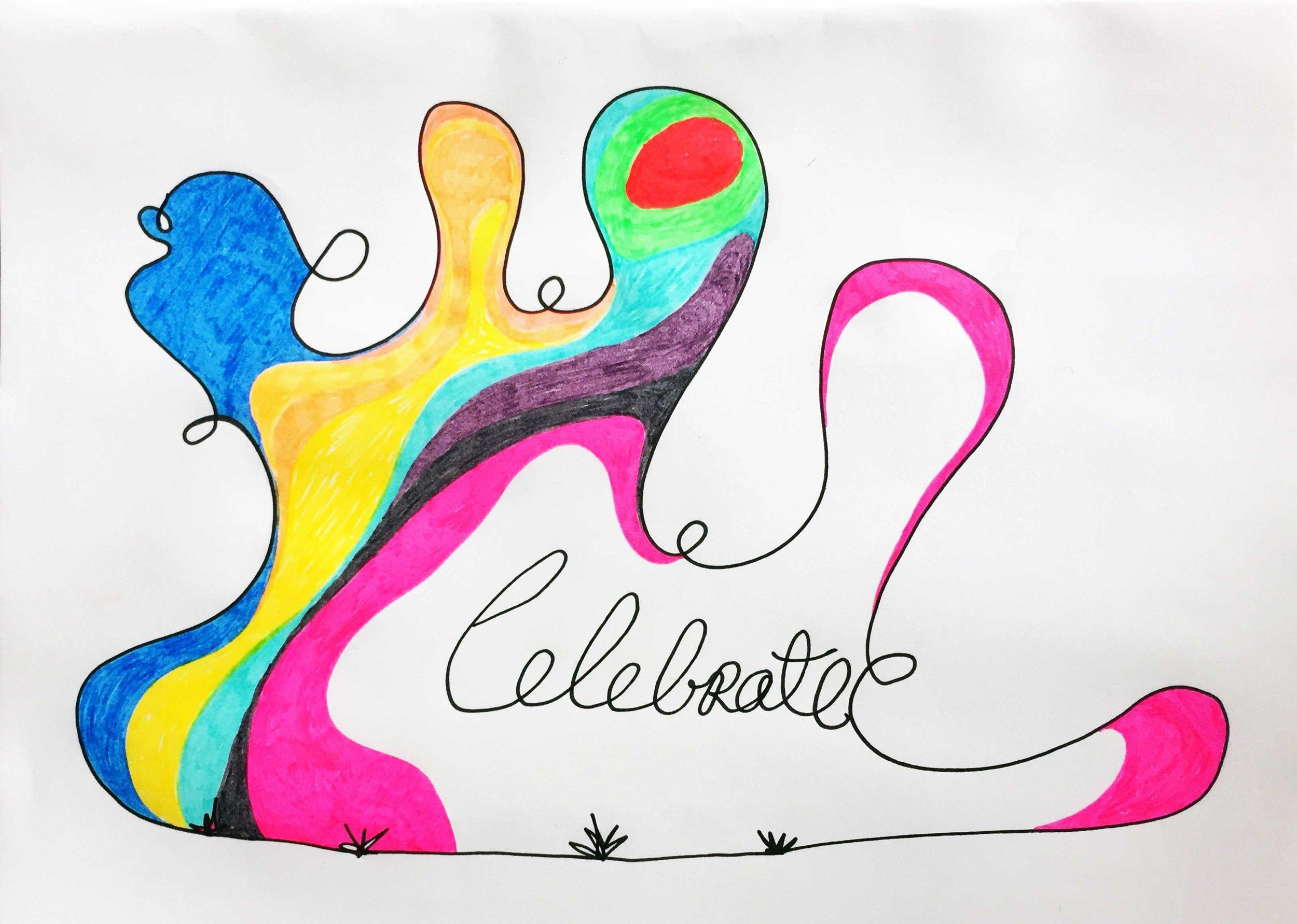 Celebrate. Drawing Luke Hockley.