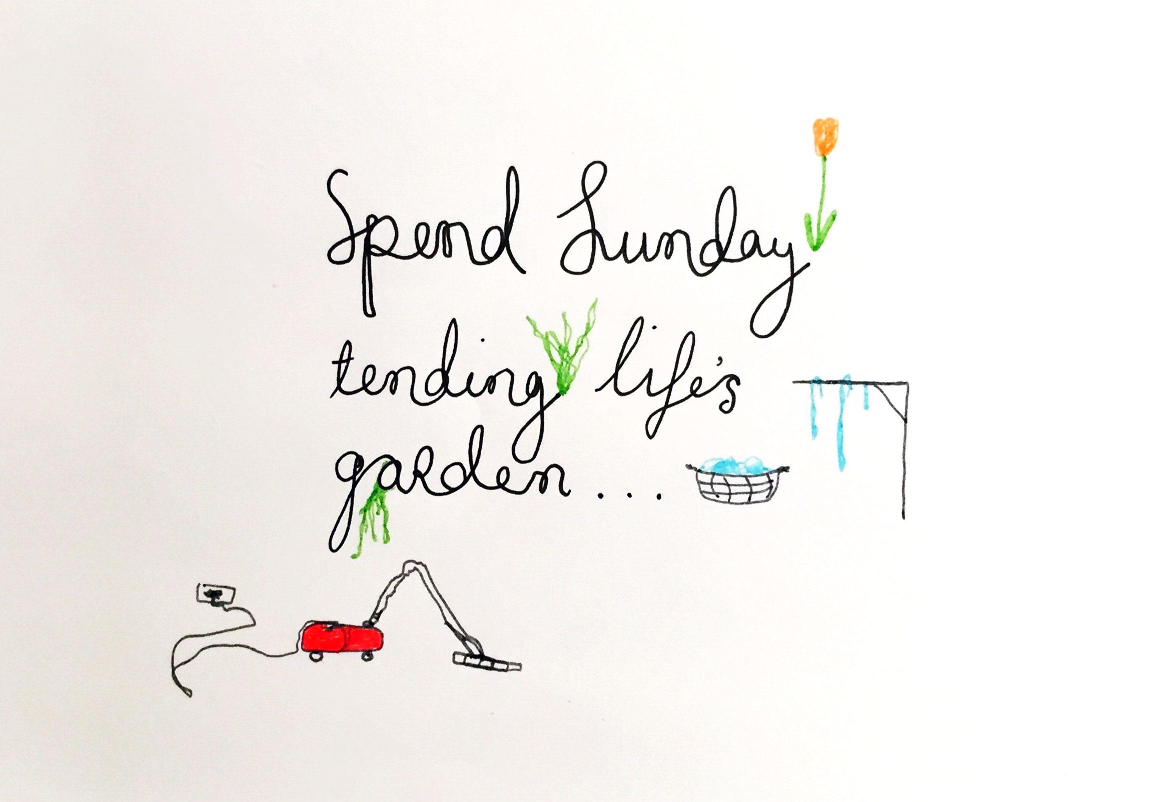 Tending life's garden. Drawing Luke Hockley.