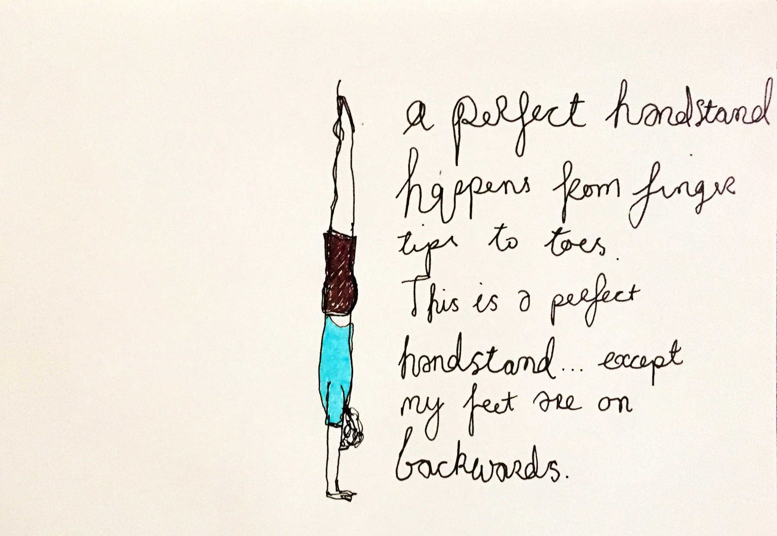 A perfect handstand. Drawing Luke Hockley.