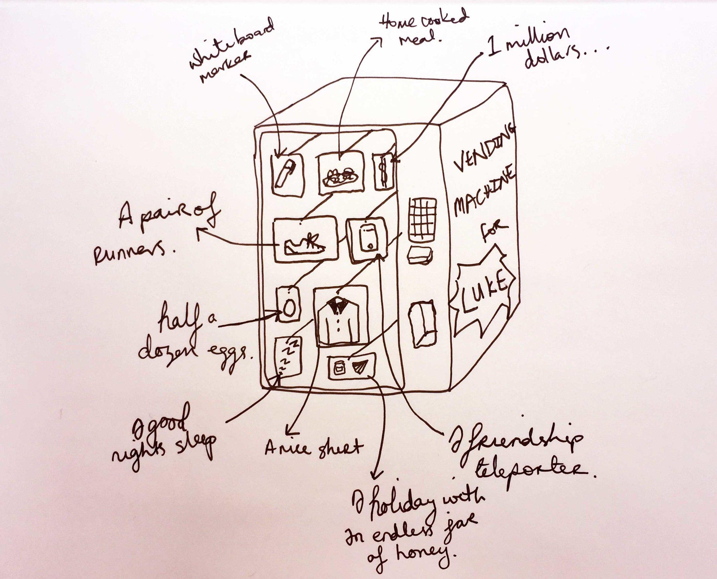 The perfect vending machine. Drawing Luke Hockley