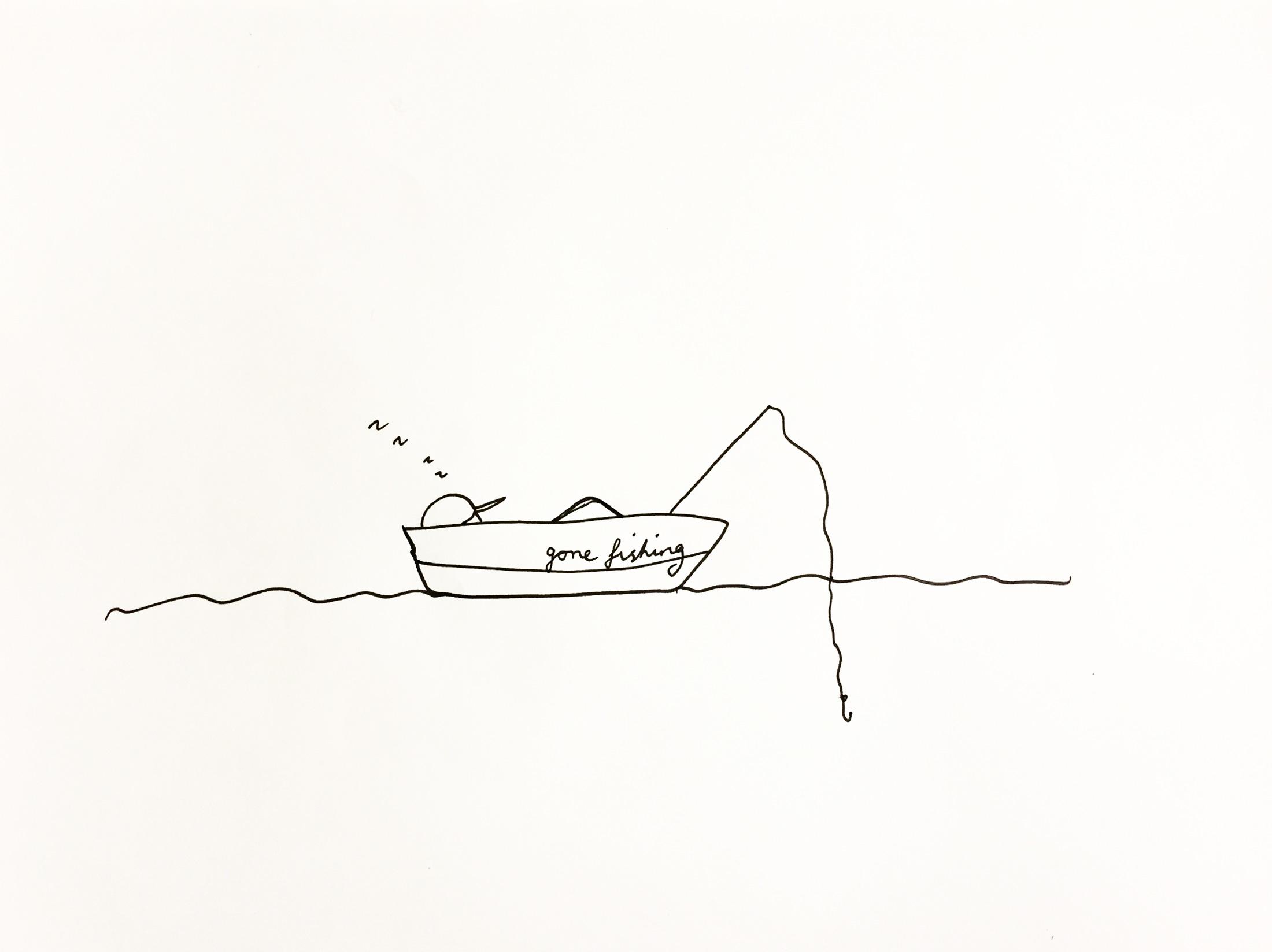 Gone fishing. Drawing Luke Hockley.