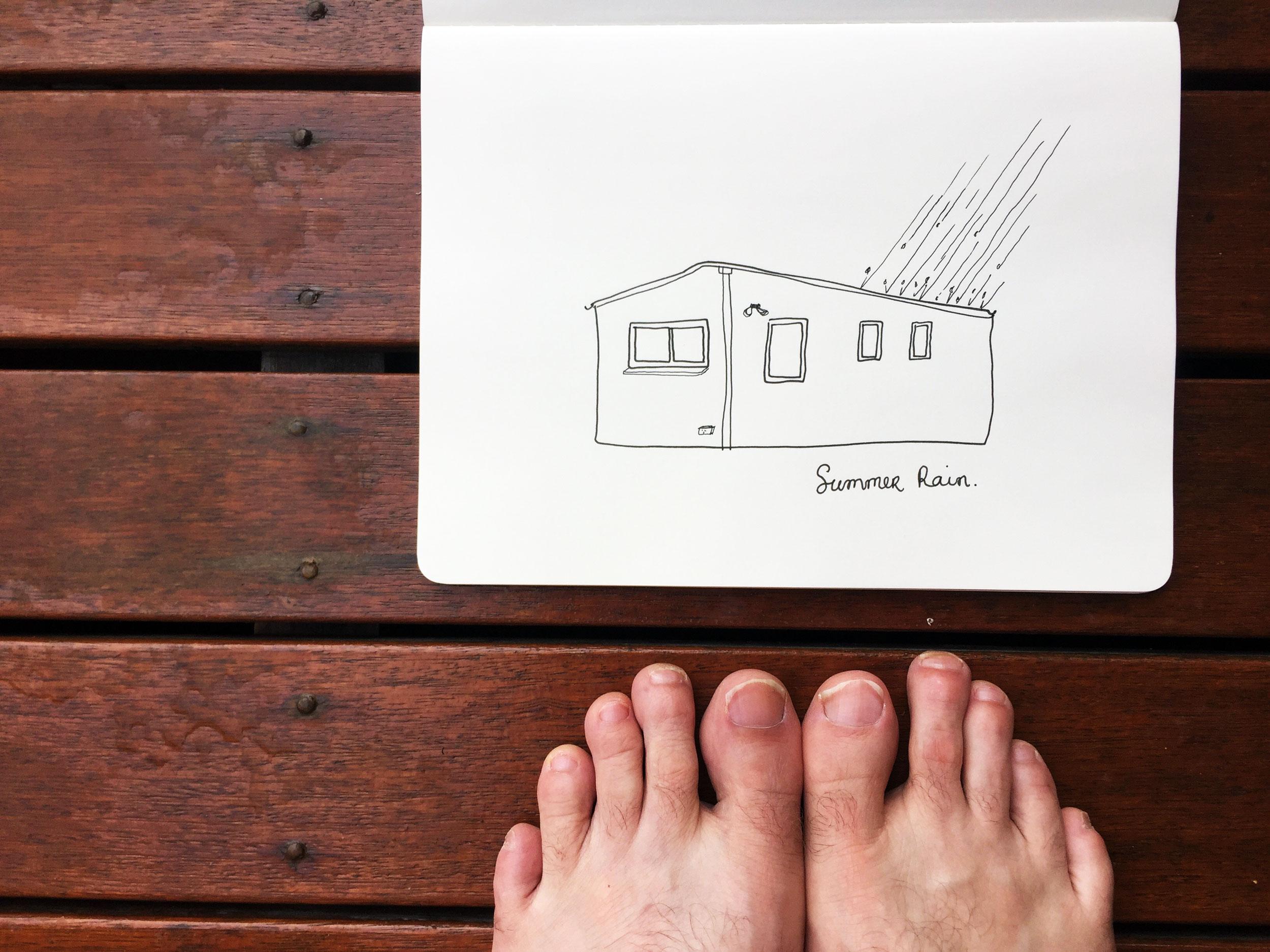 Summer rain. Drawing Luke Hockley.