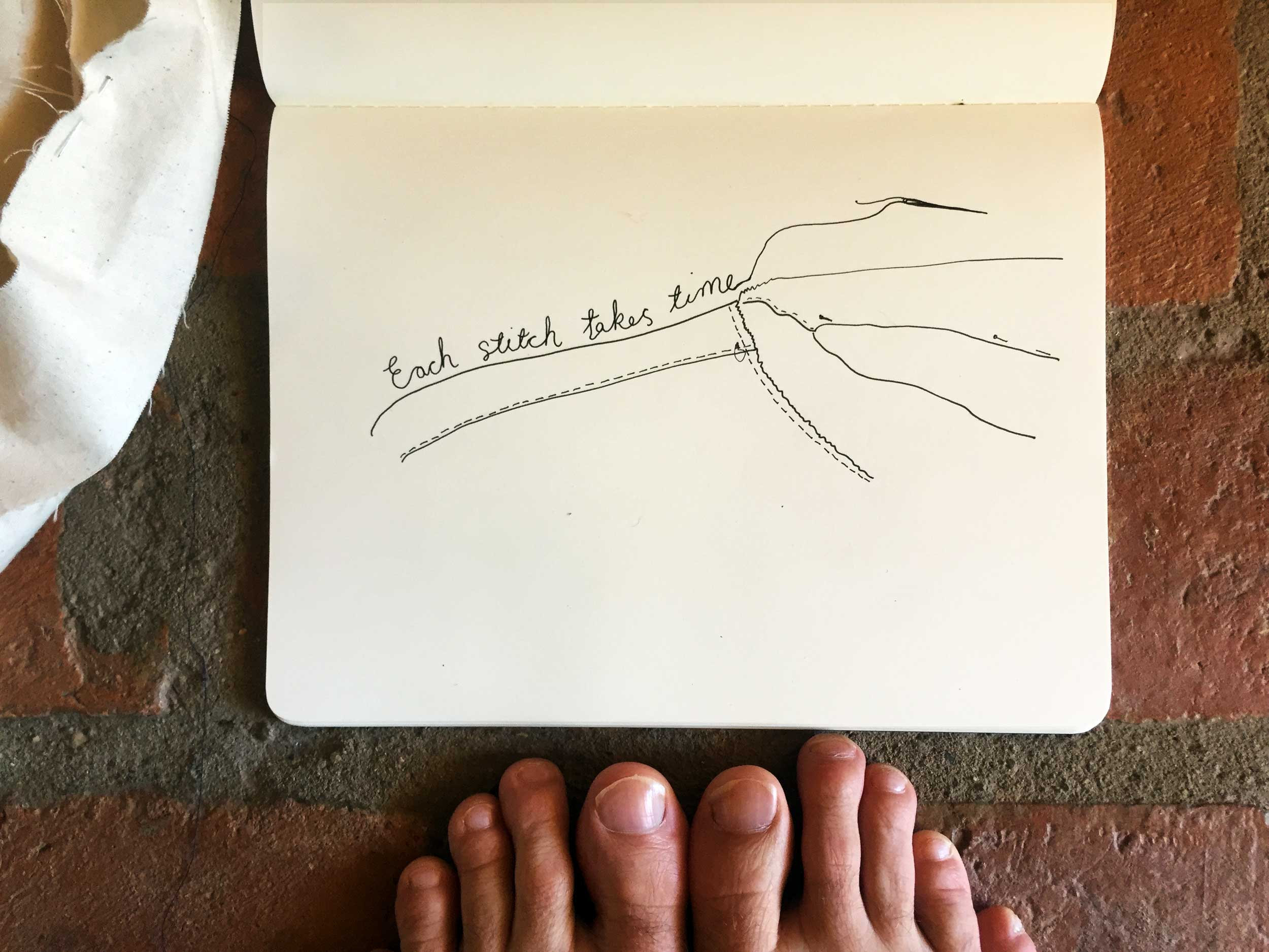 Each stitch takes time. Drawing Luke Hockley.