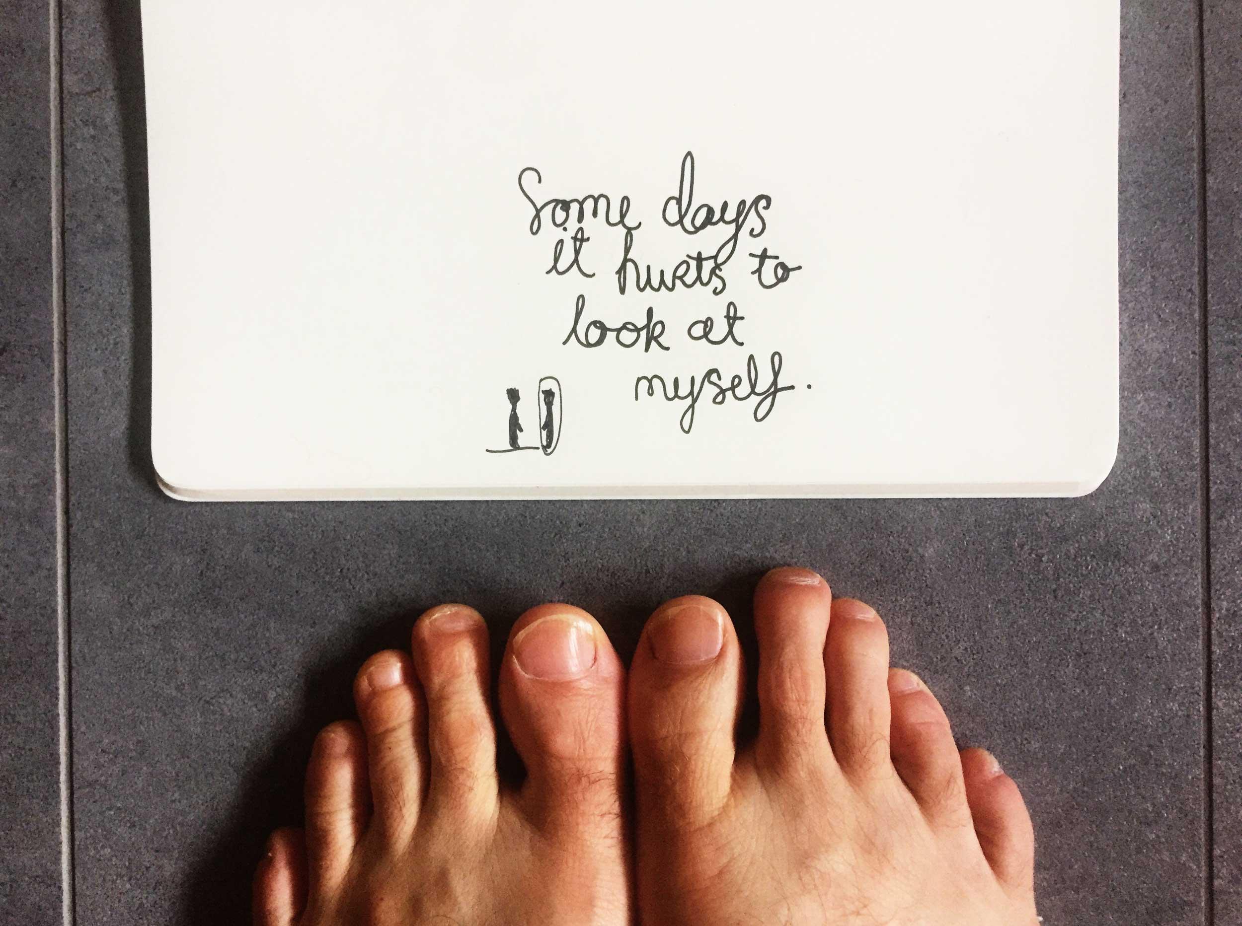 It hurts. Drawing Luke Hockley.