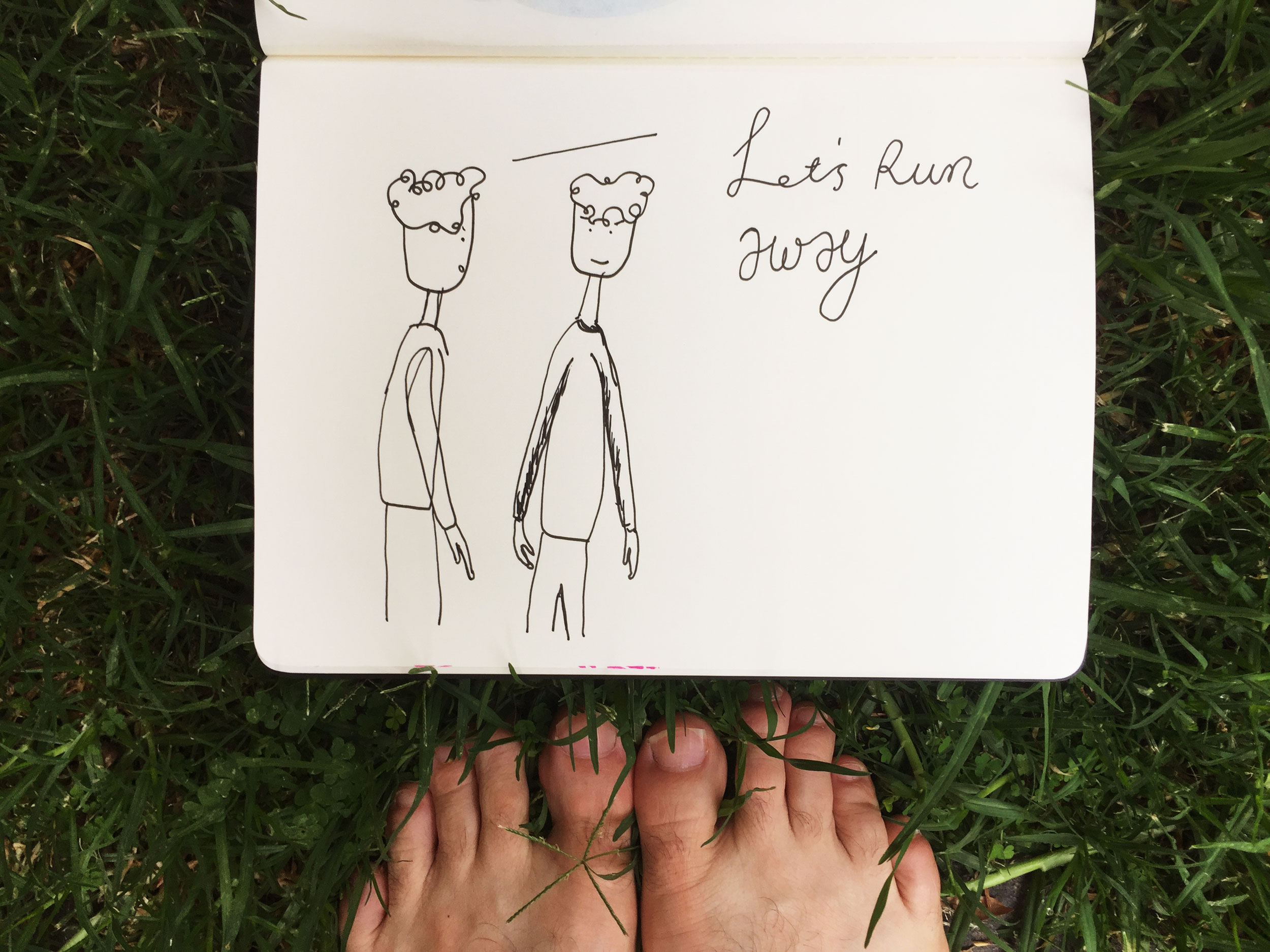 Let's run away. Drawing Luke Hockley.