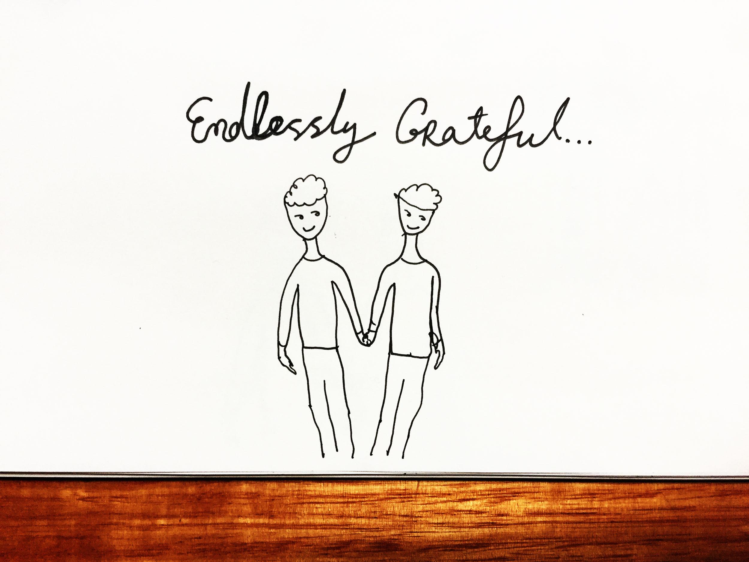 Endlessly grateful. Drawing Luke Hockley.