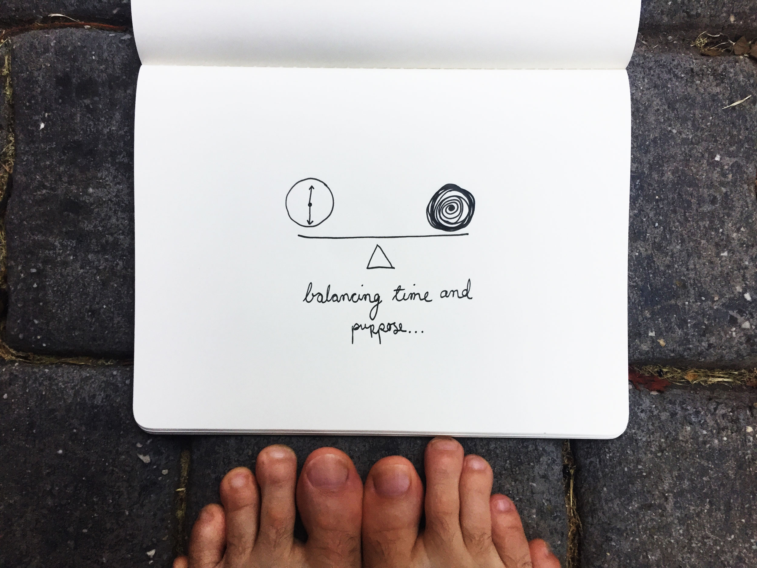 Time and purpose. Drawing Luke Hockley.