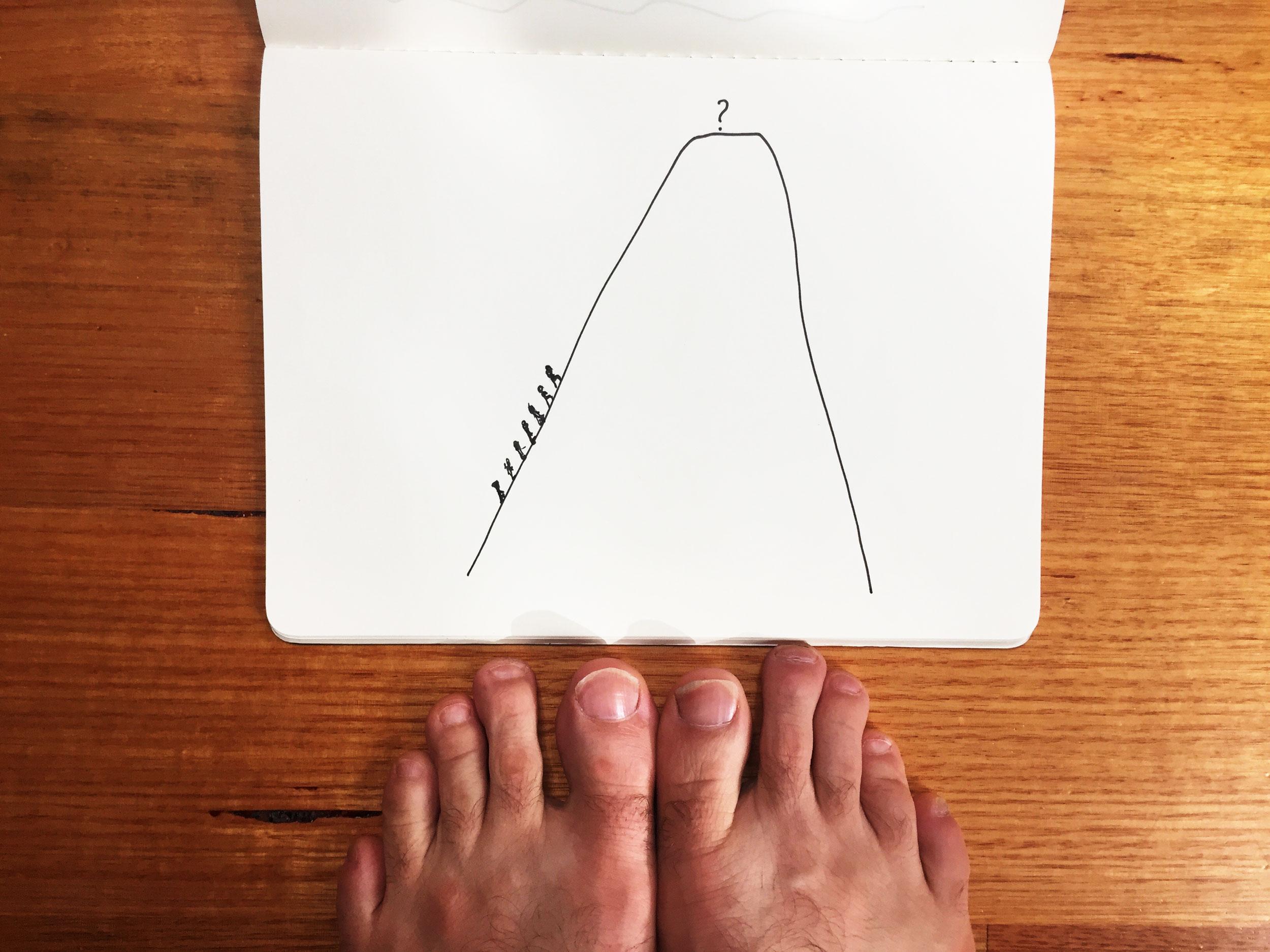 Climbing mountains. Drawing Luke Hockley.