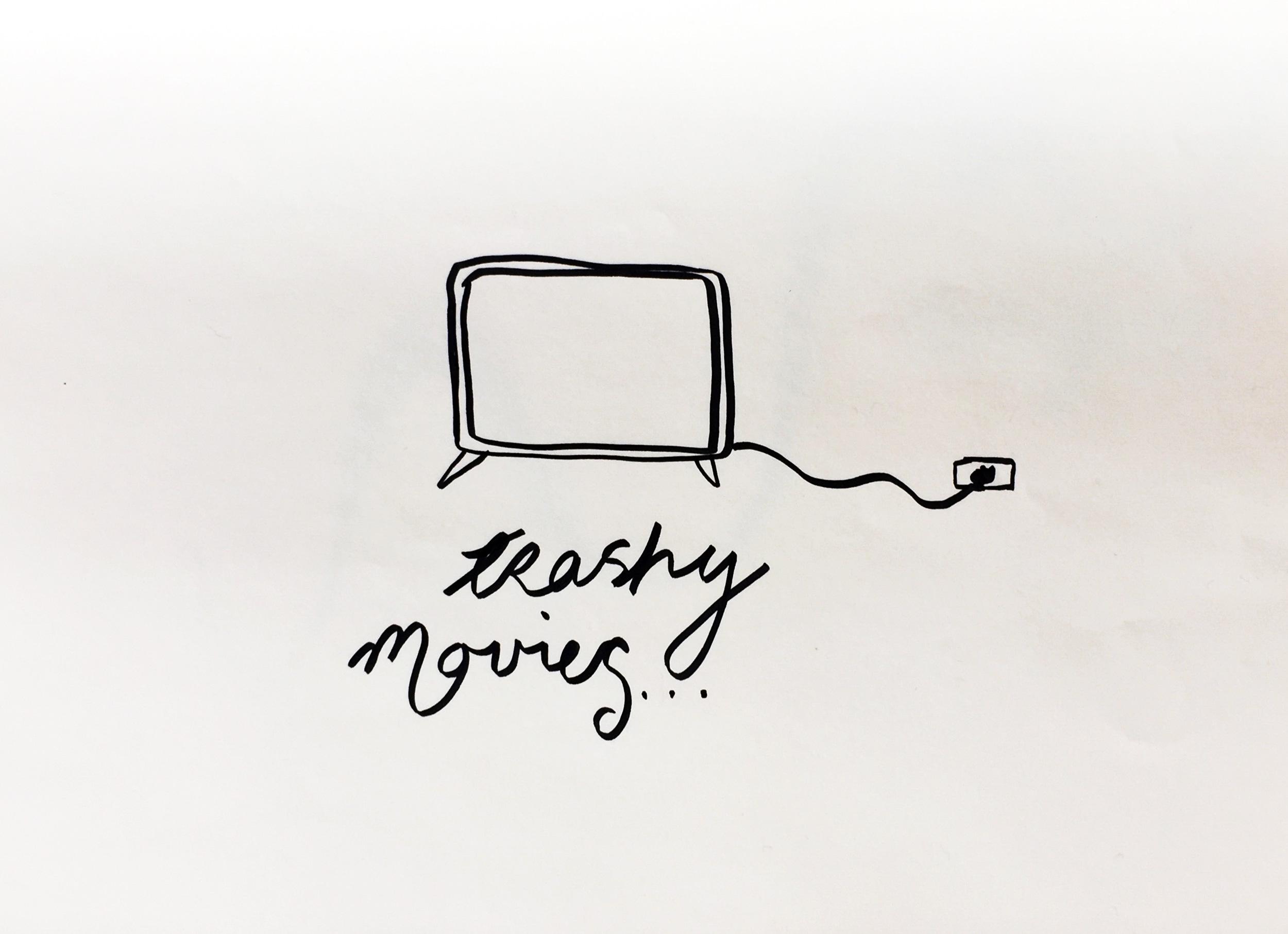 Trashy movies. Drawing Luke Hockley.