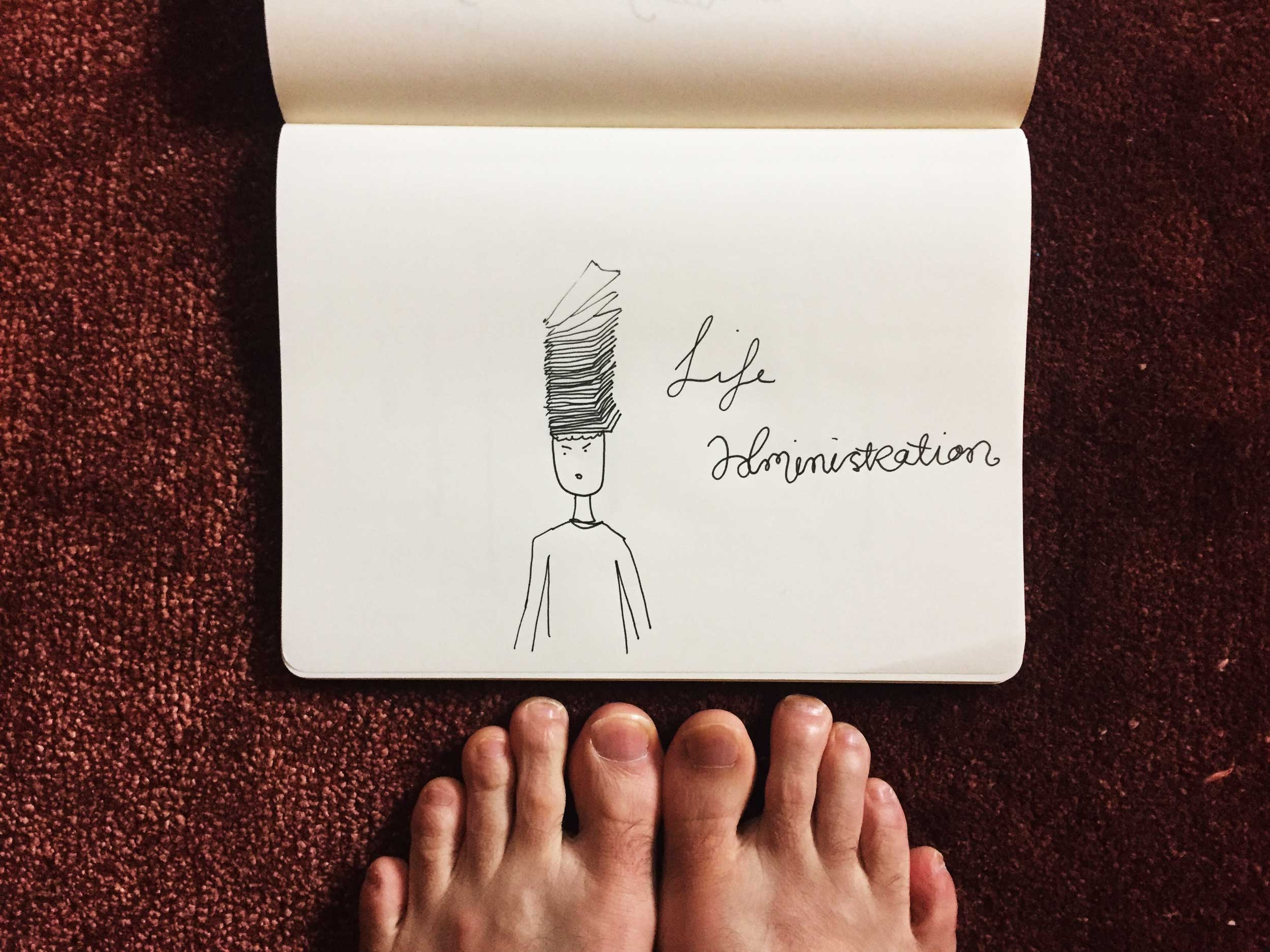 Life administration. Drawing Luke Hockley.