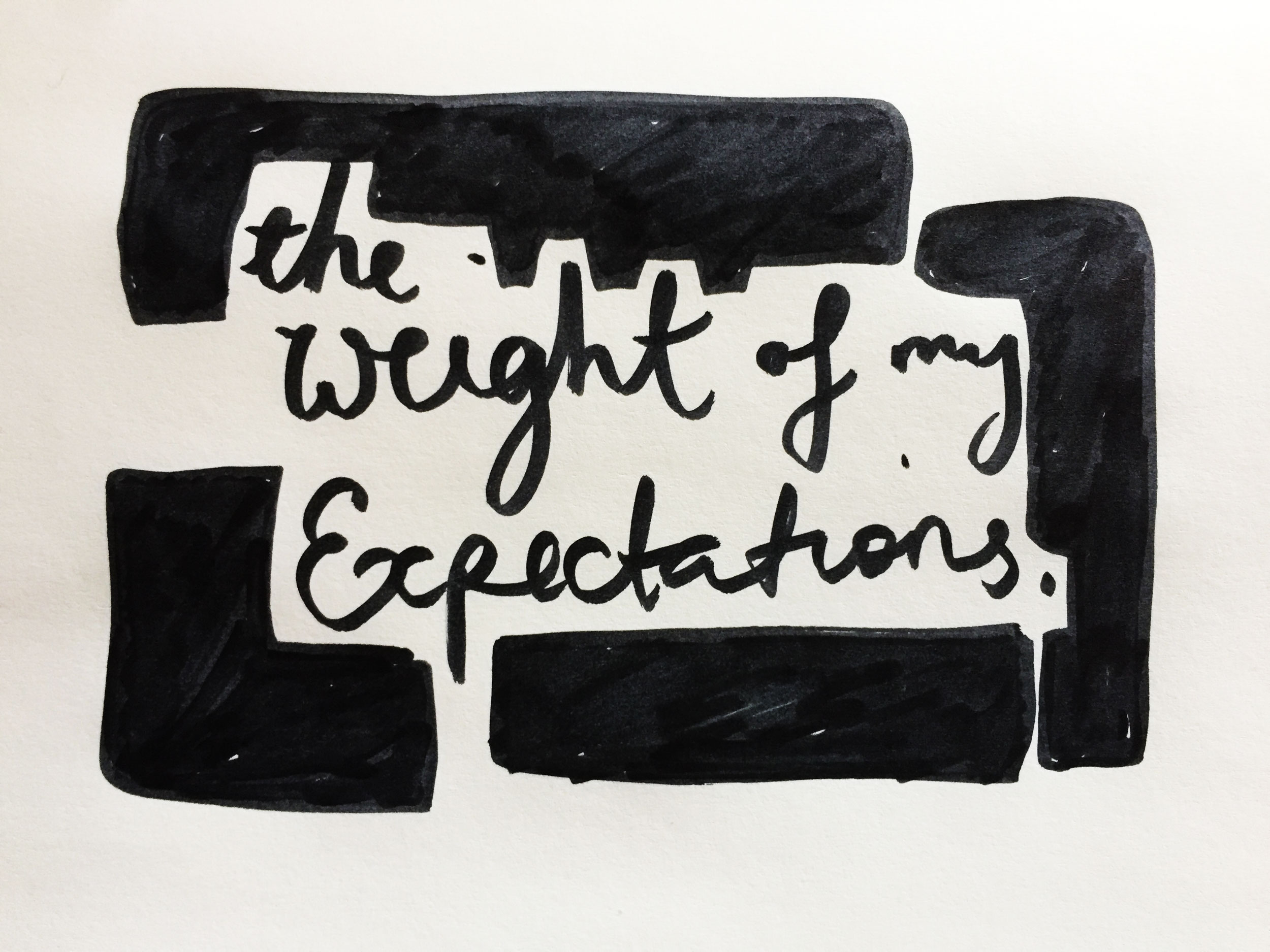 The weight of my expectations. Drawing Luke Hockley.