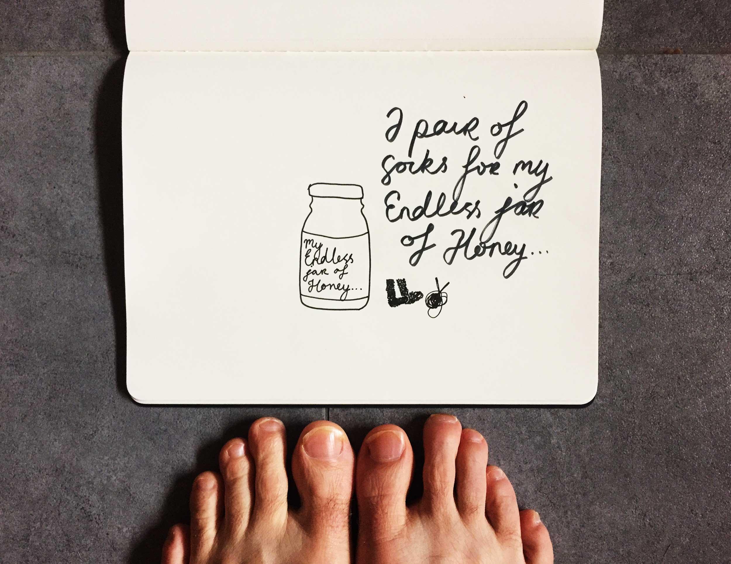 A pair of socks for my Endless Jar of Honey... Drawing Luke Hockley.