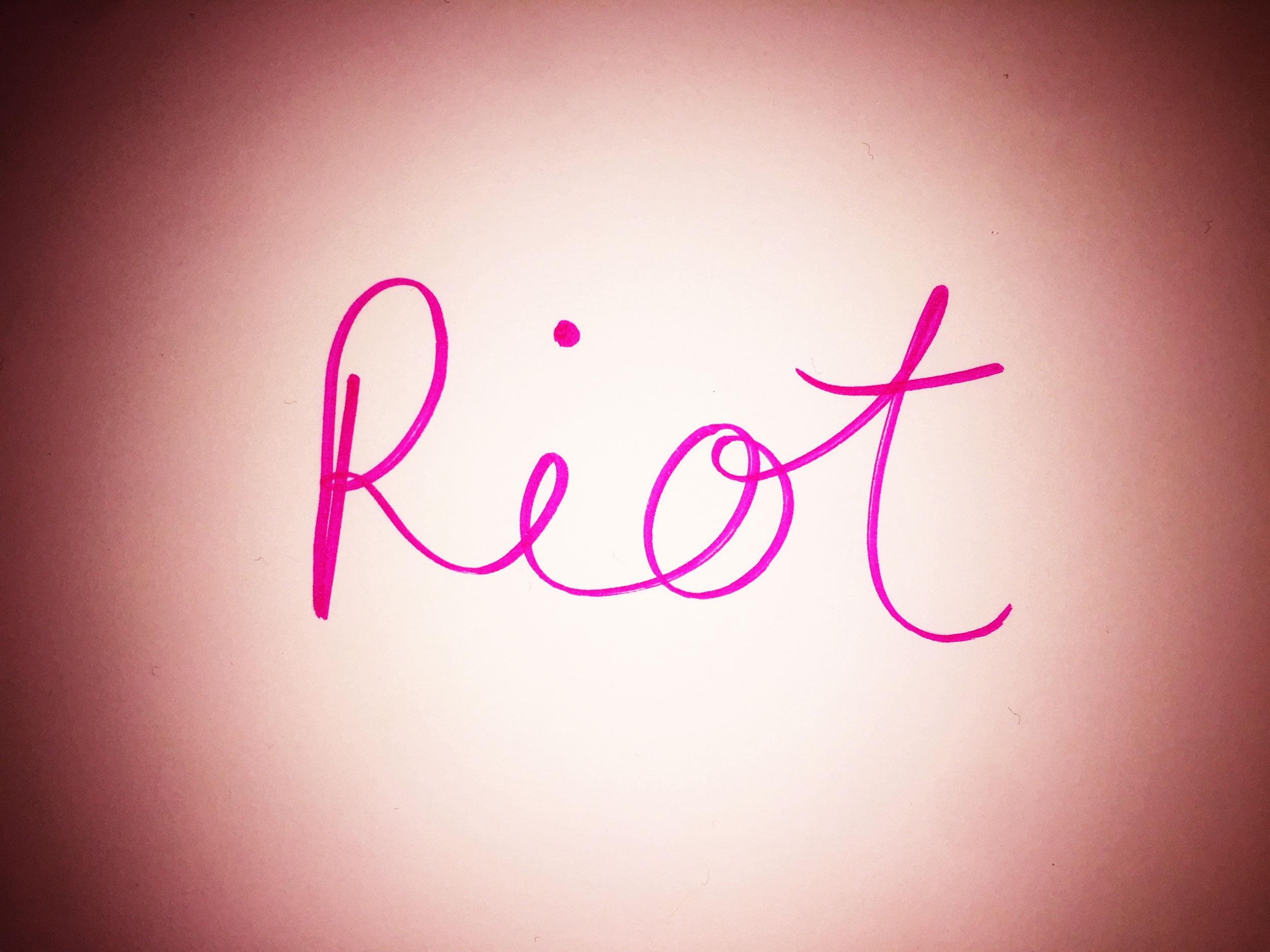 Riot. Drawing Luke Hockley.