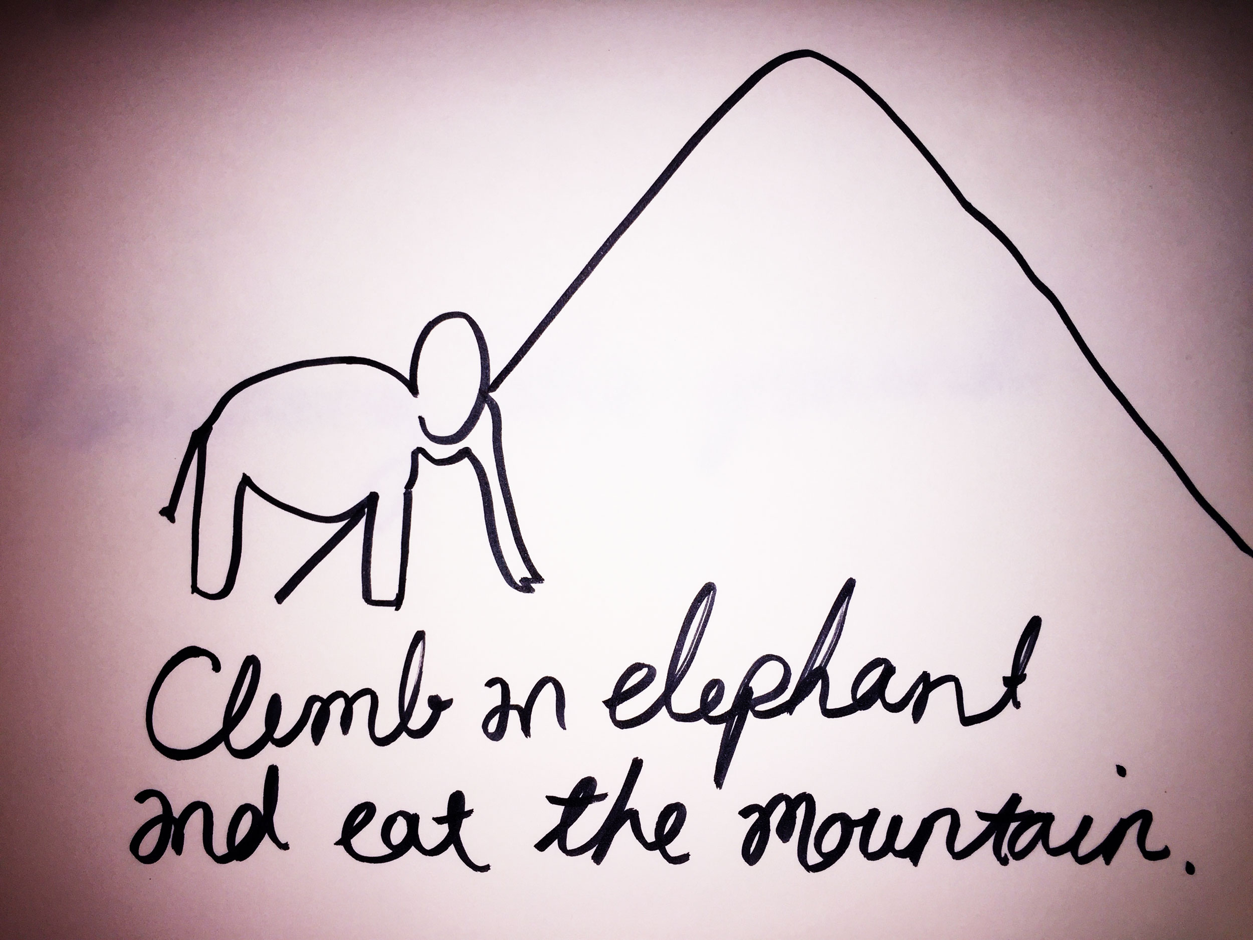 Climb an elephant and eat the mountain. Drawing Luke Hockley.