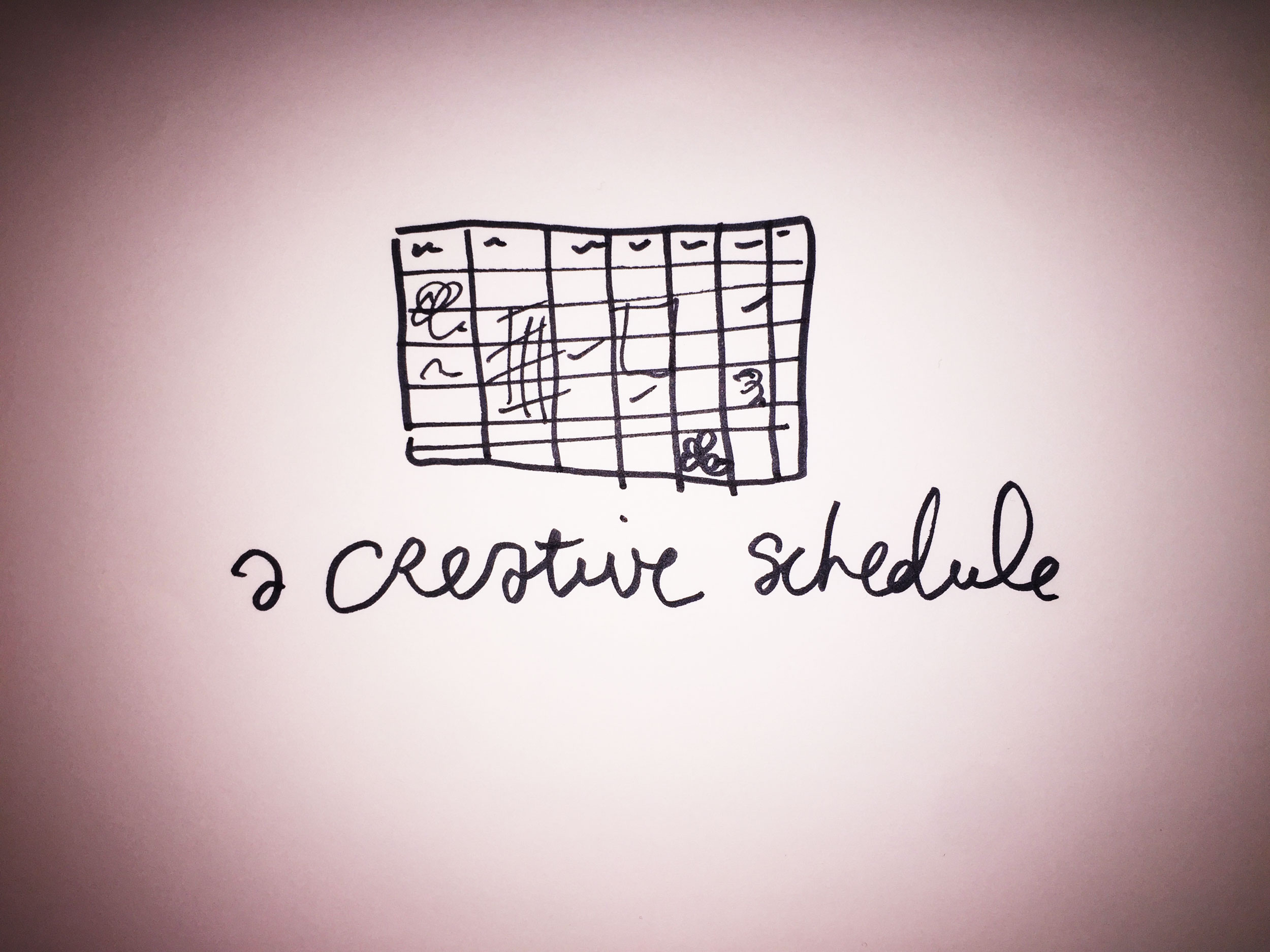 A creative schedule. Drawing Luke Hockley.