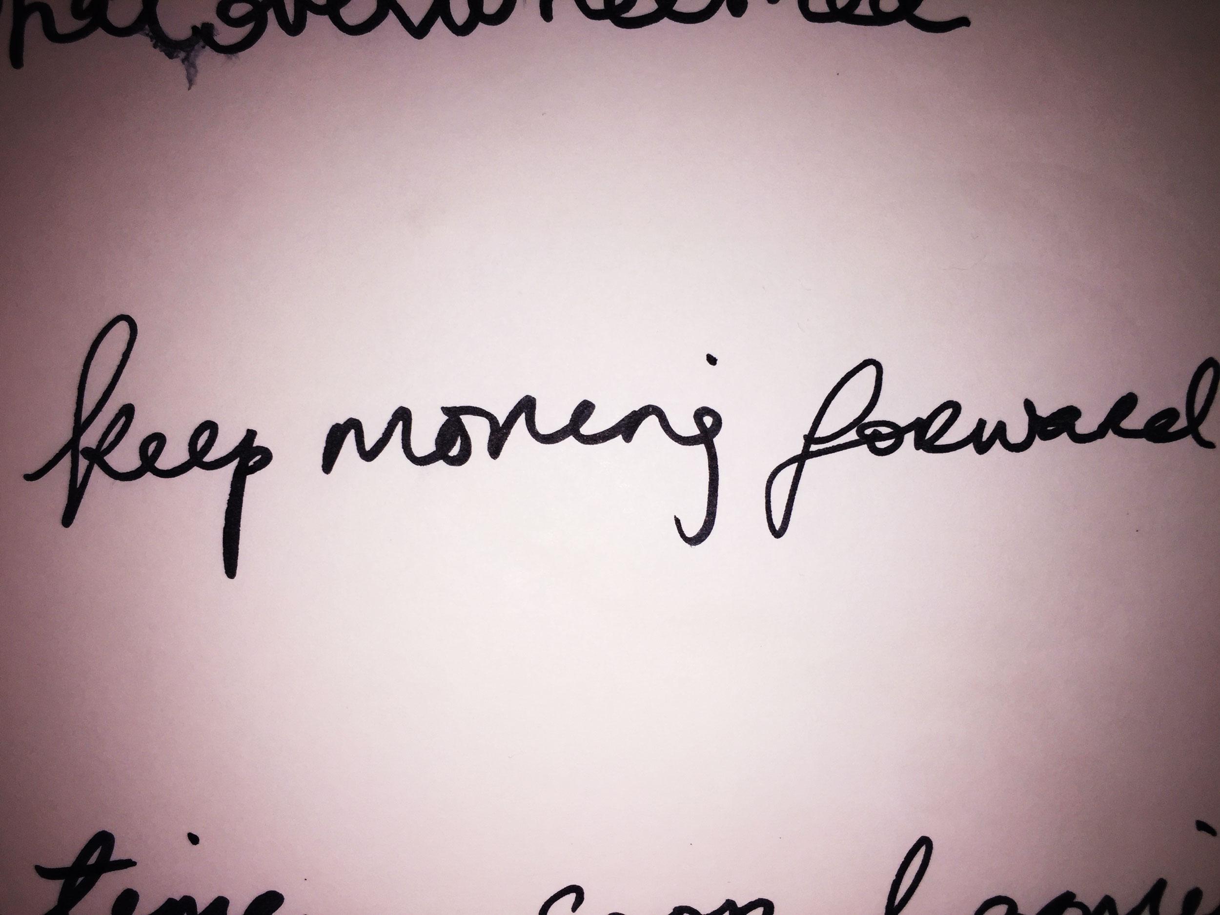 Keep moving forward. Drawing Luke Hockley.