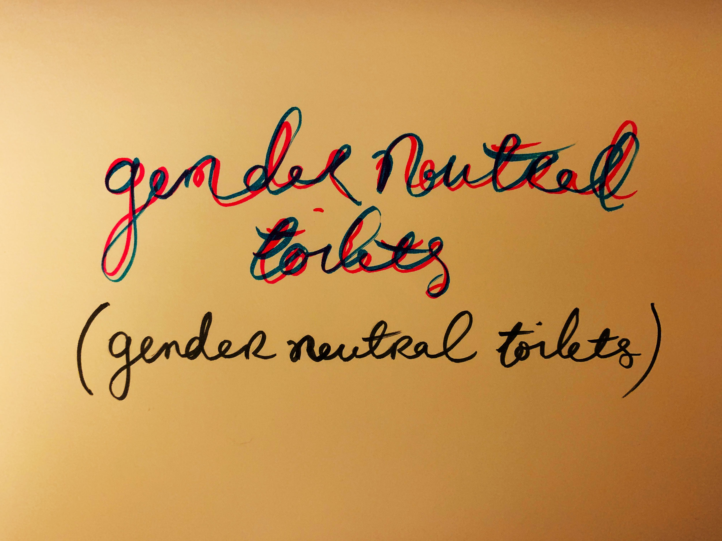 Gender neutral toilets. Drawing Luke Hockley.