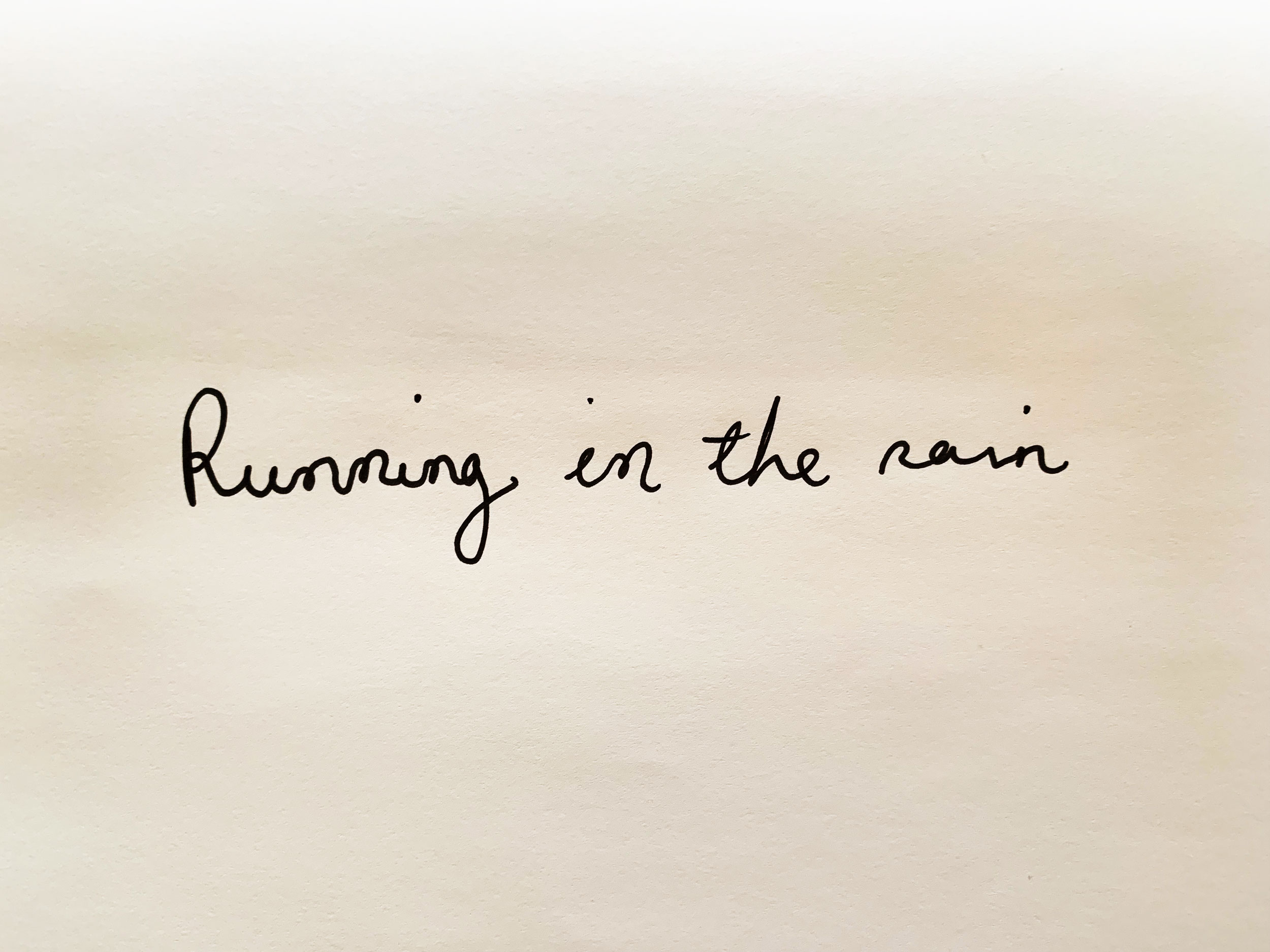 Running in the rain. Drawing Luke Hockley.