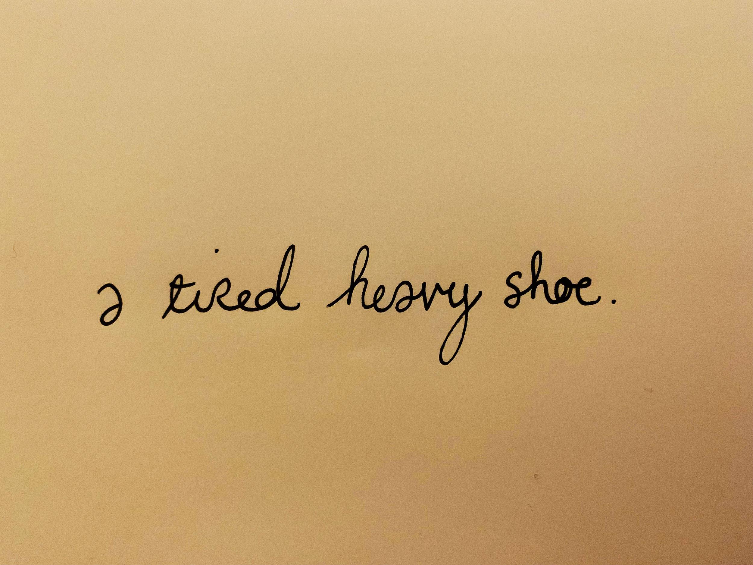 A tired heavy shoe. Drawing Luke Hockley.