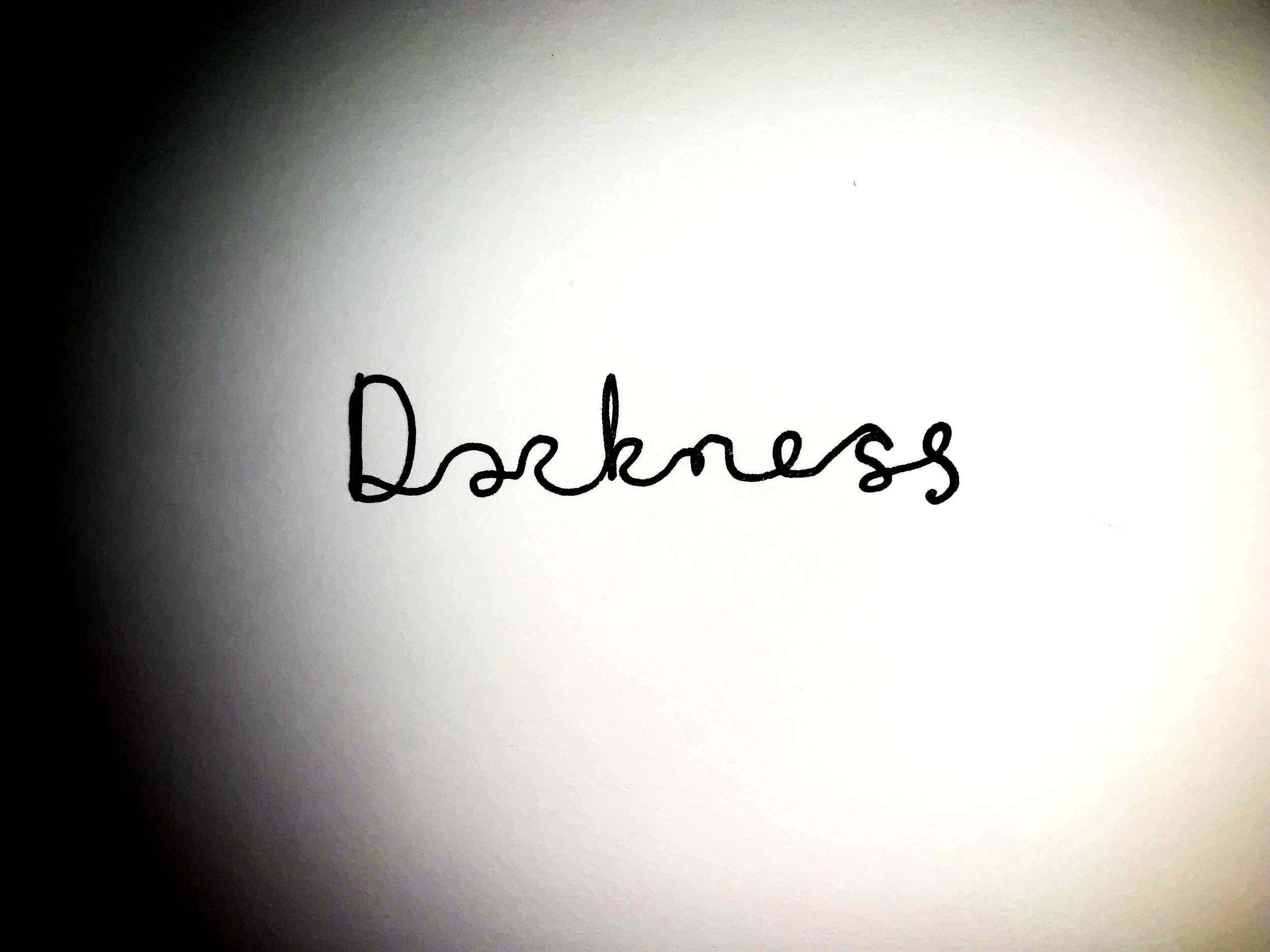 Darkness. Drawing Luke Hockley.